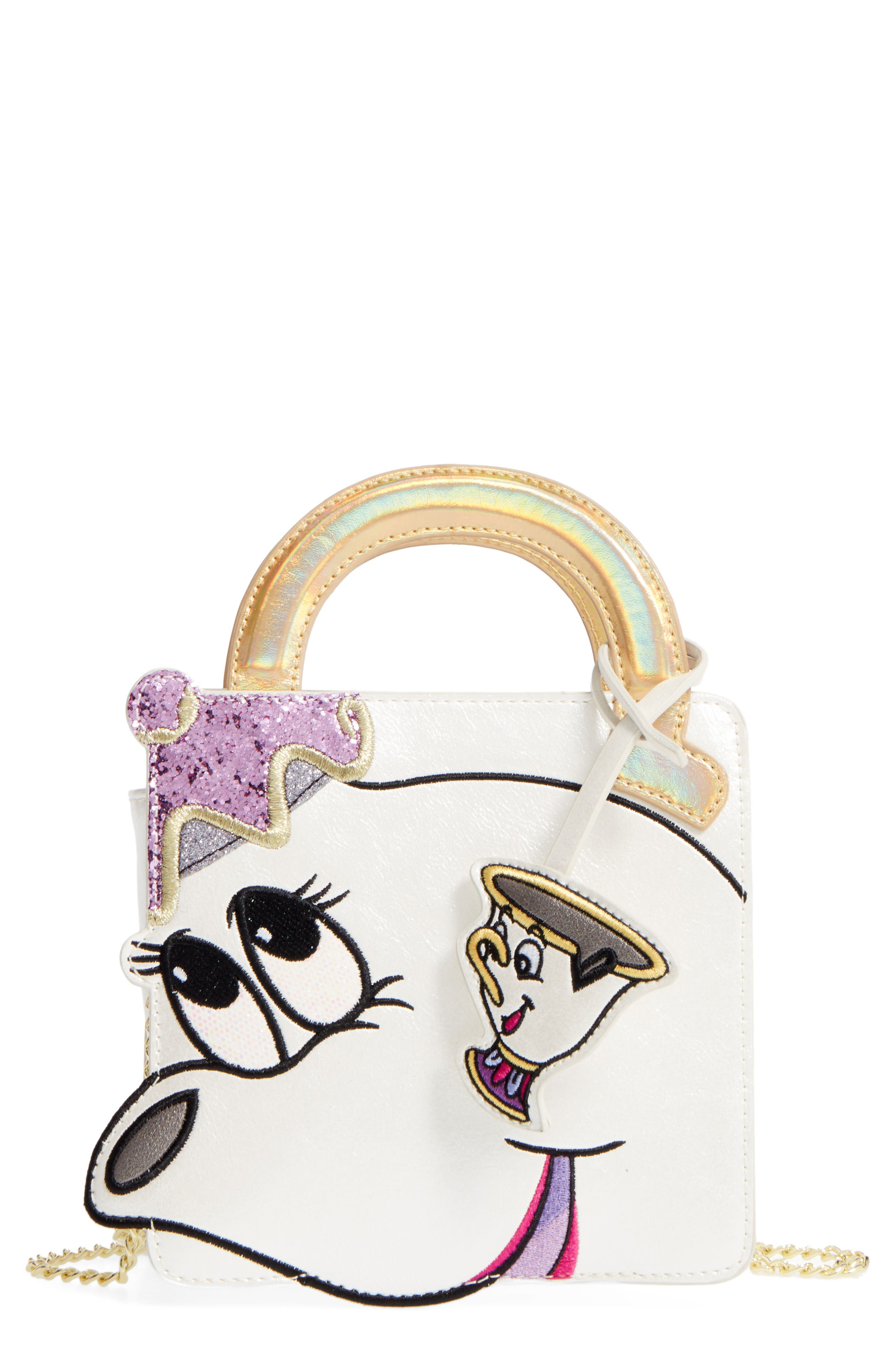 DANIELLE NICOLE x Disney<sup>®</sup> Mrs. Potts & Chip Faux Leather Crossbody Bag, Main, color, 040