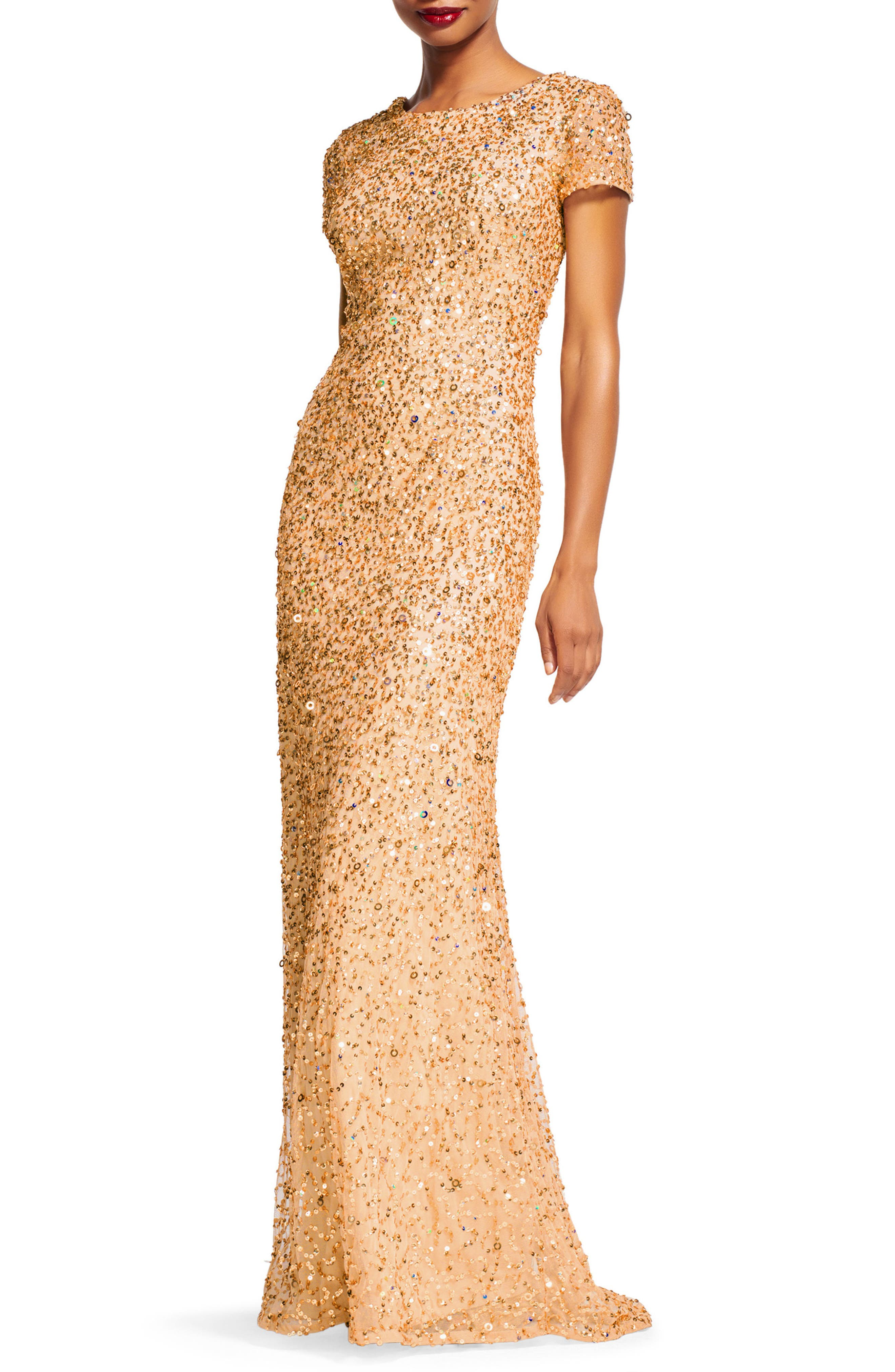 Short Sleeve Sequin Mesh Gown,                             Alternate thumbnail 3, color,                             CHAMPAGNE/ GOLD