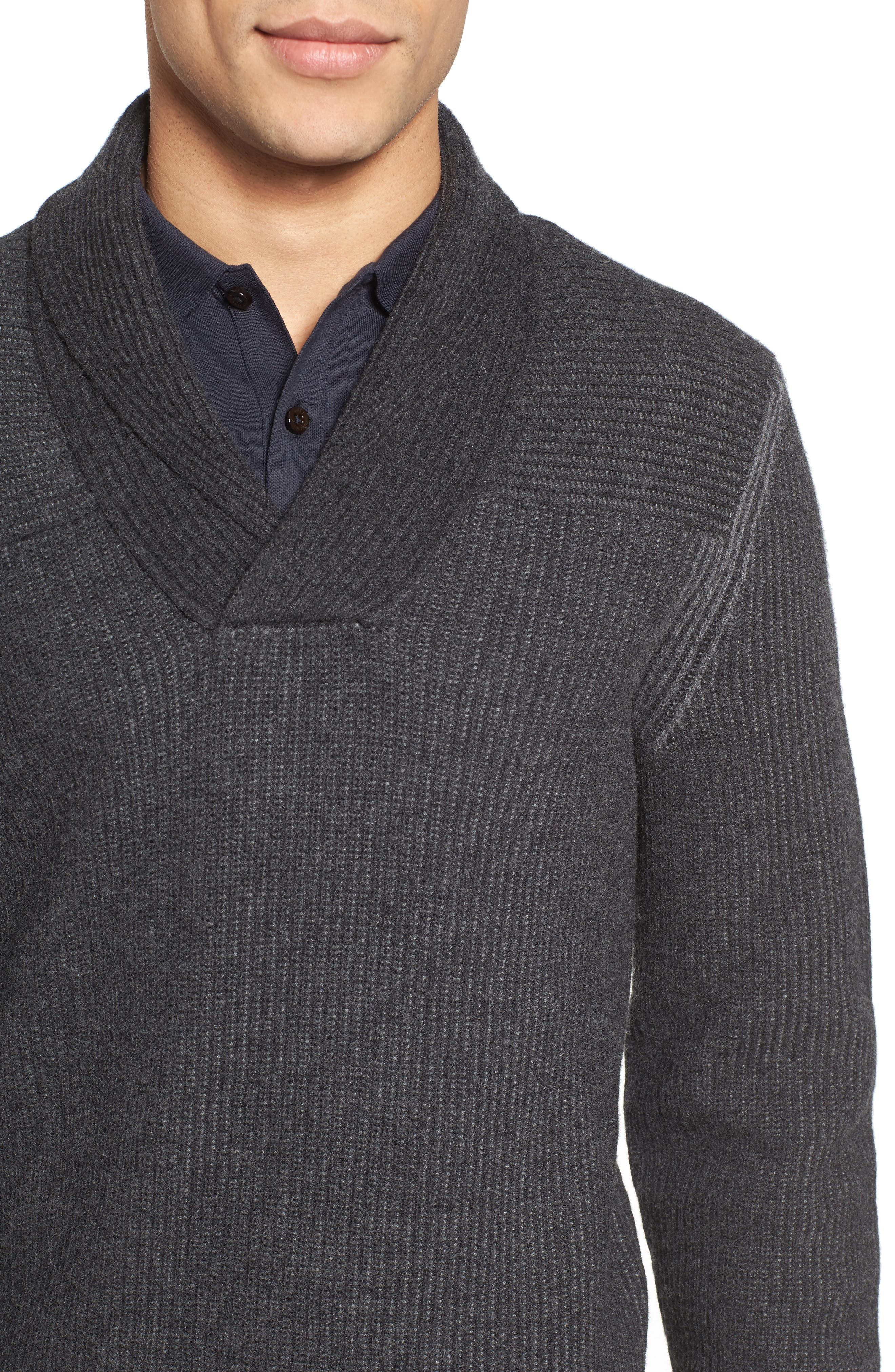 'Berno' Shawl Collar Wool Pullover,                             Alternate thumbnail 4, color,                             010