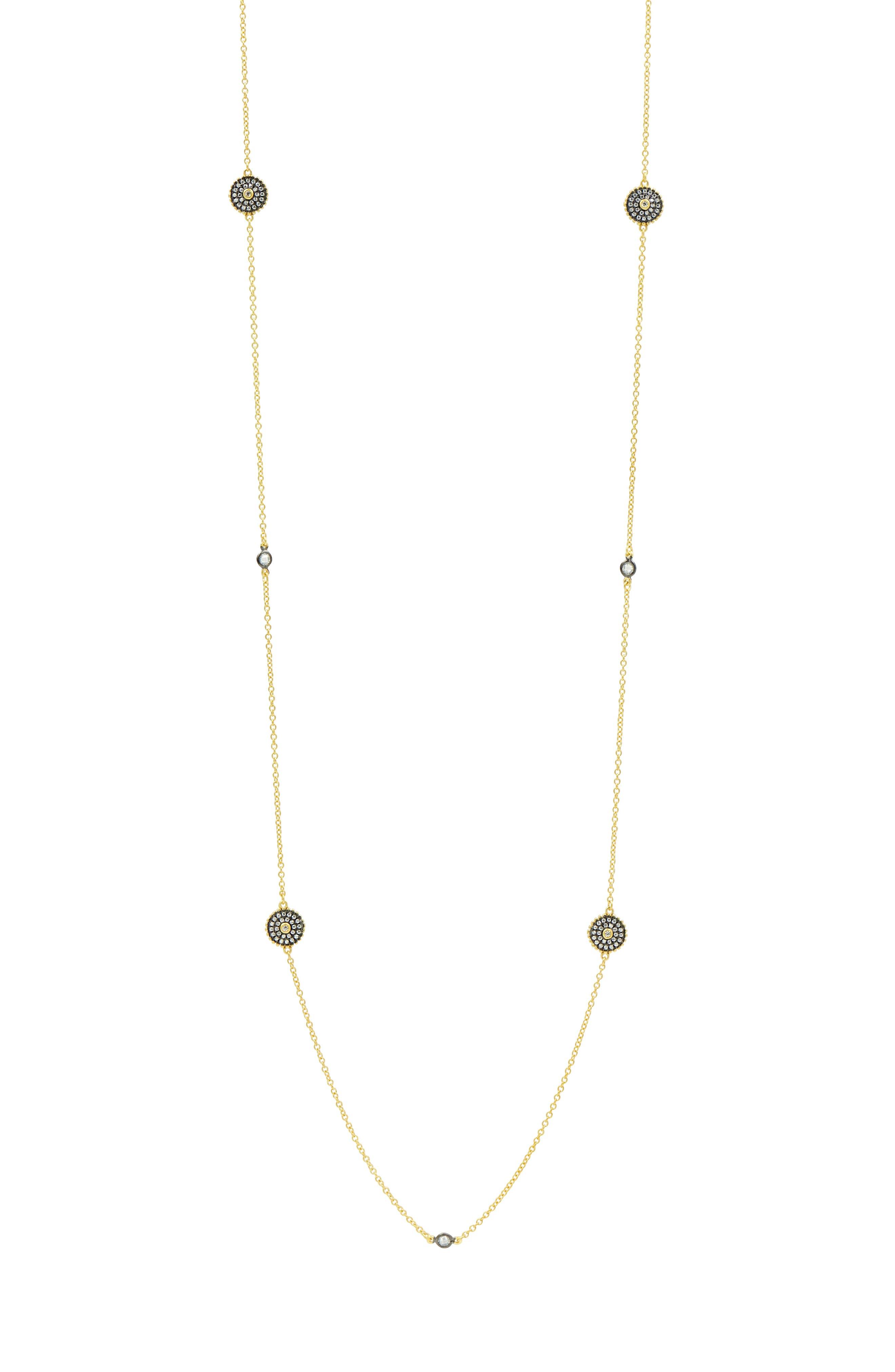 Double-Sided Pavé Disc Station Necklace,                             Alternate thumbnail 4, color,                             BLACK/ WHITE/ GOLD