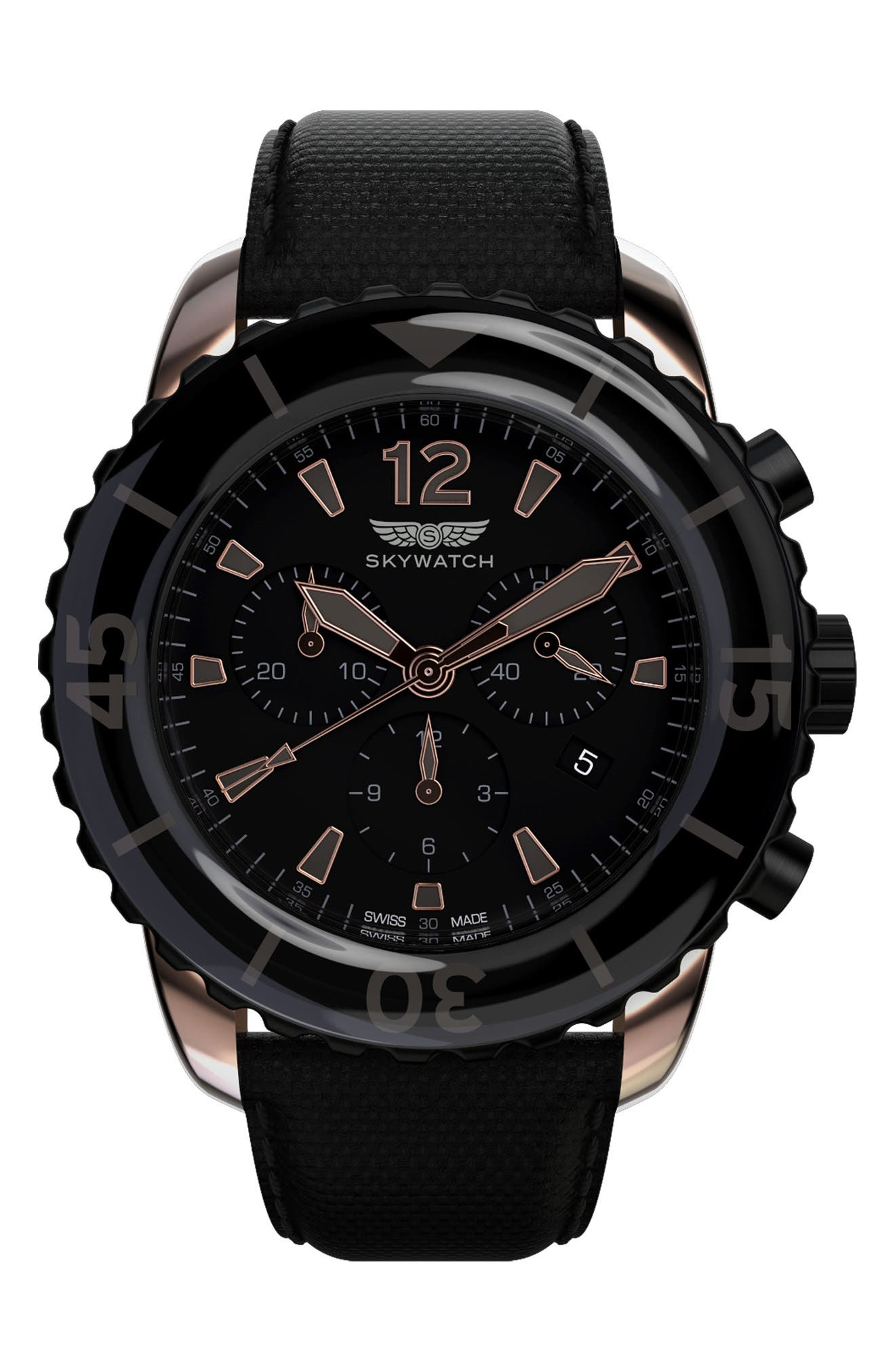 Classic Chronograph Woven Strap Watch, 44mm,                         Main,                         color, BLACK/ BLACK