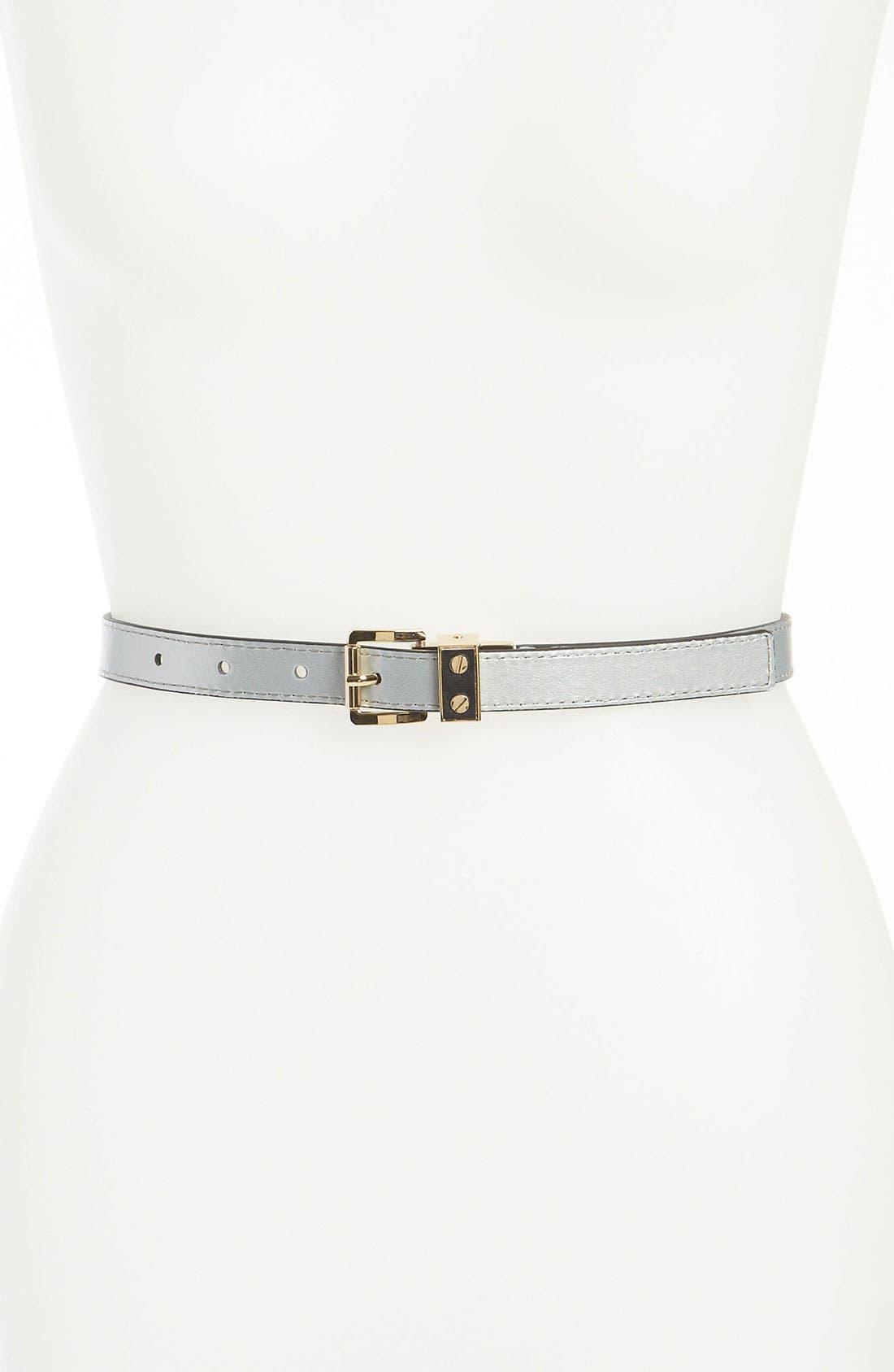 'Screw Buckle' Reversible Leather Belt,                             Alternate thumbnail 2, color,                             001