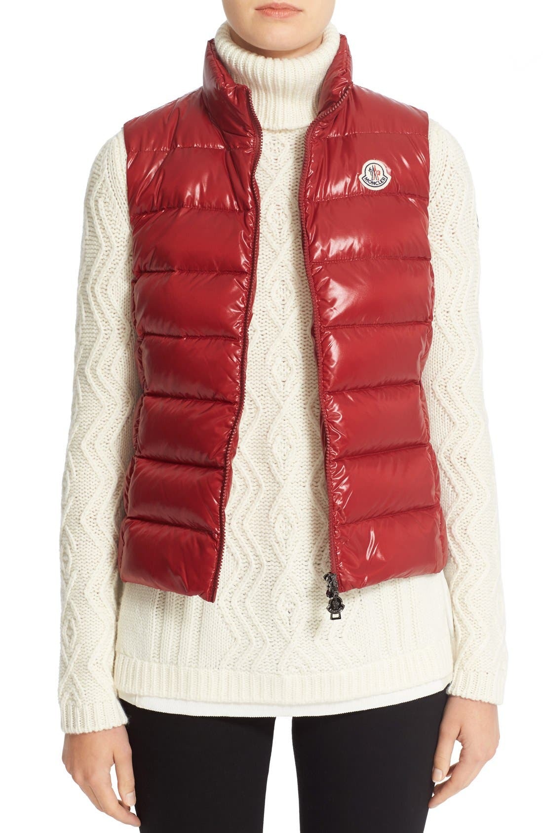 Moncler Ghany Water Resistant Shiny Nylon Down Puffer Vest, Red
