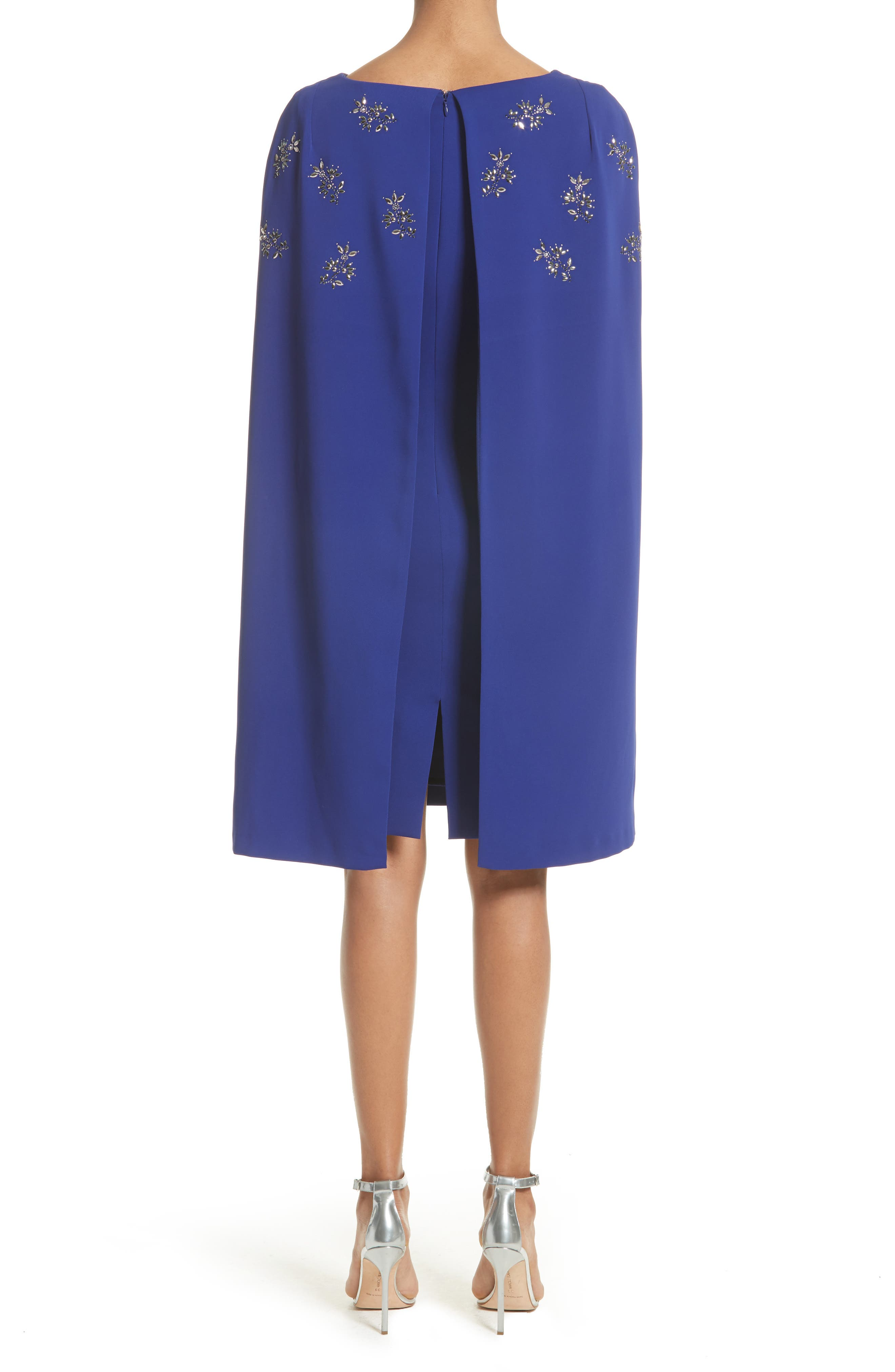 Embellished Classic Stretch Cady Cape Dress,                             Alternate thumbnail 2, color,                             430