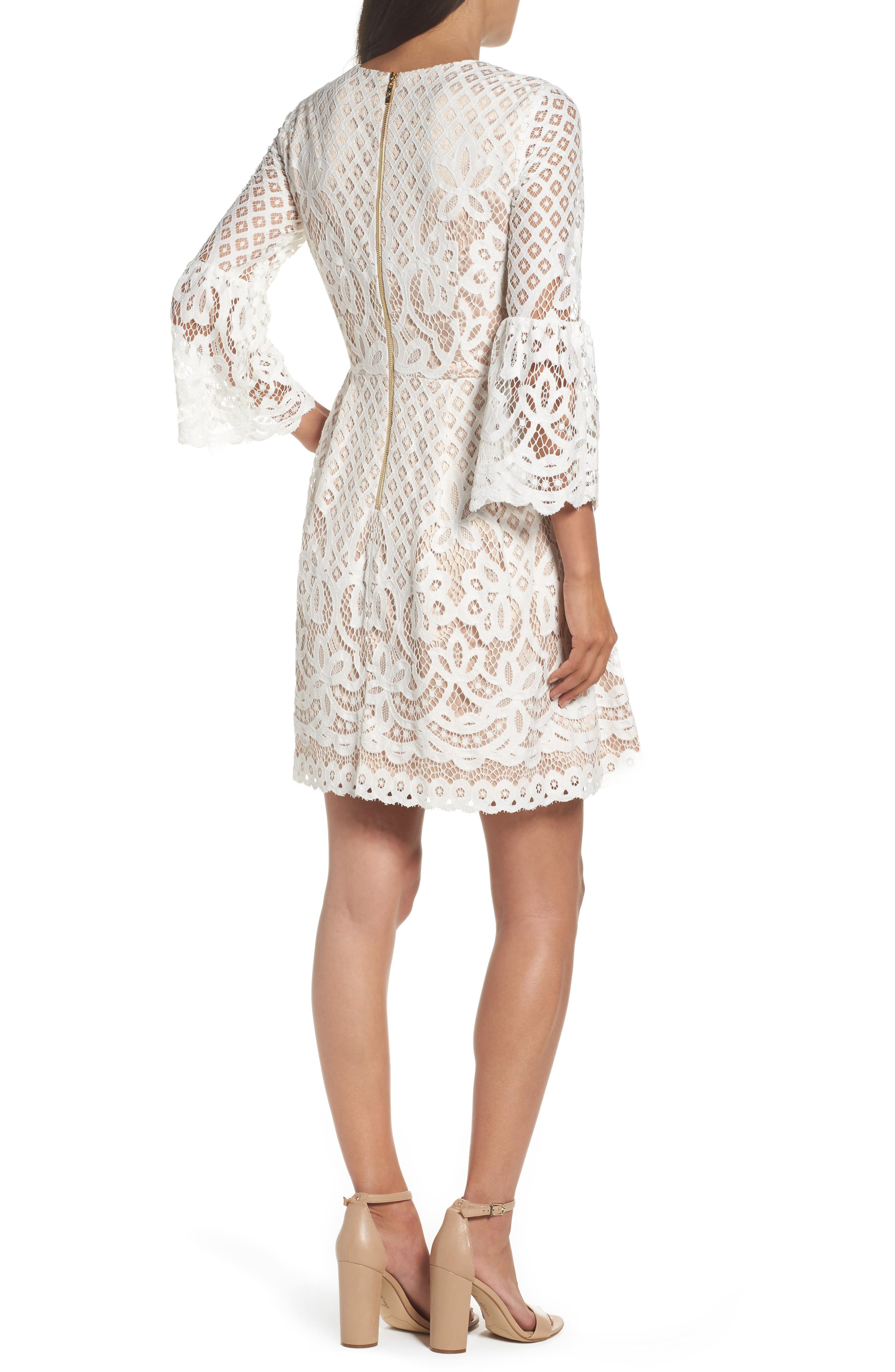 Bell Sleeve Fit & Flare Dress,                             Alternate thumbnail 3, color,                             IVORY