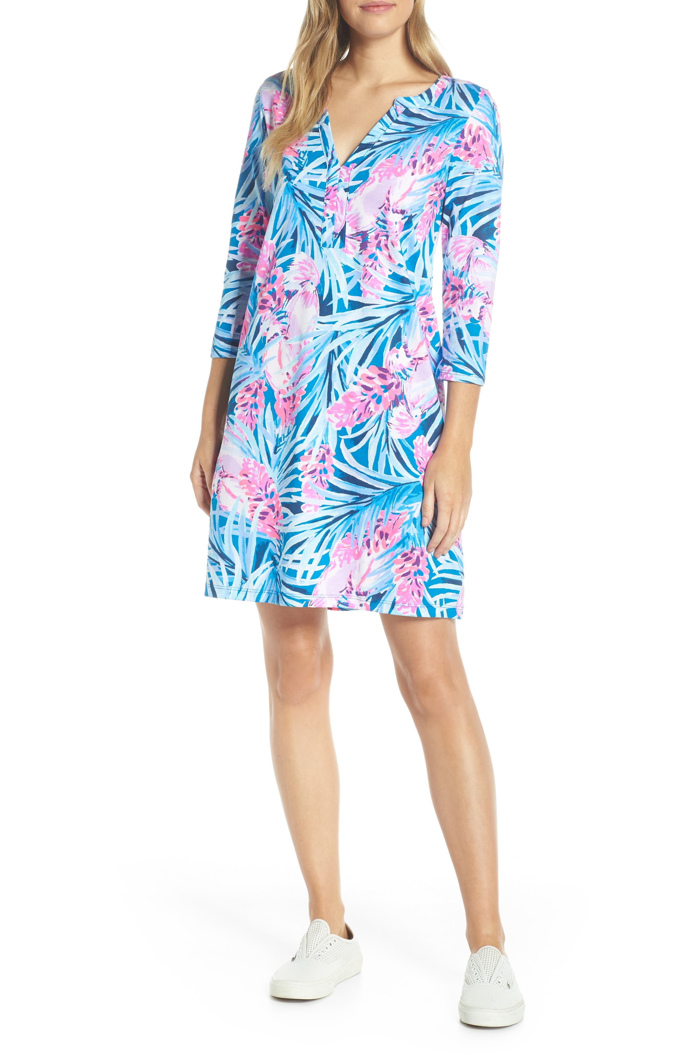 Daphne Shift Dress,                             Alternate thumbnail 5, color,                             MR PEACOCK BLUE TWEETHEARTS