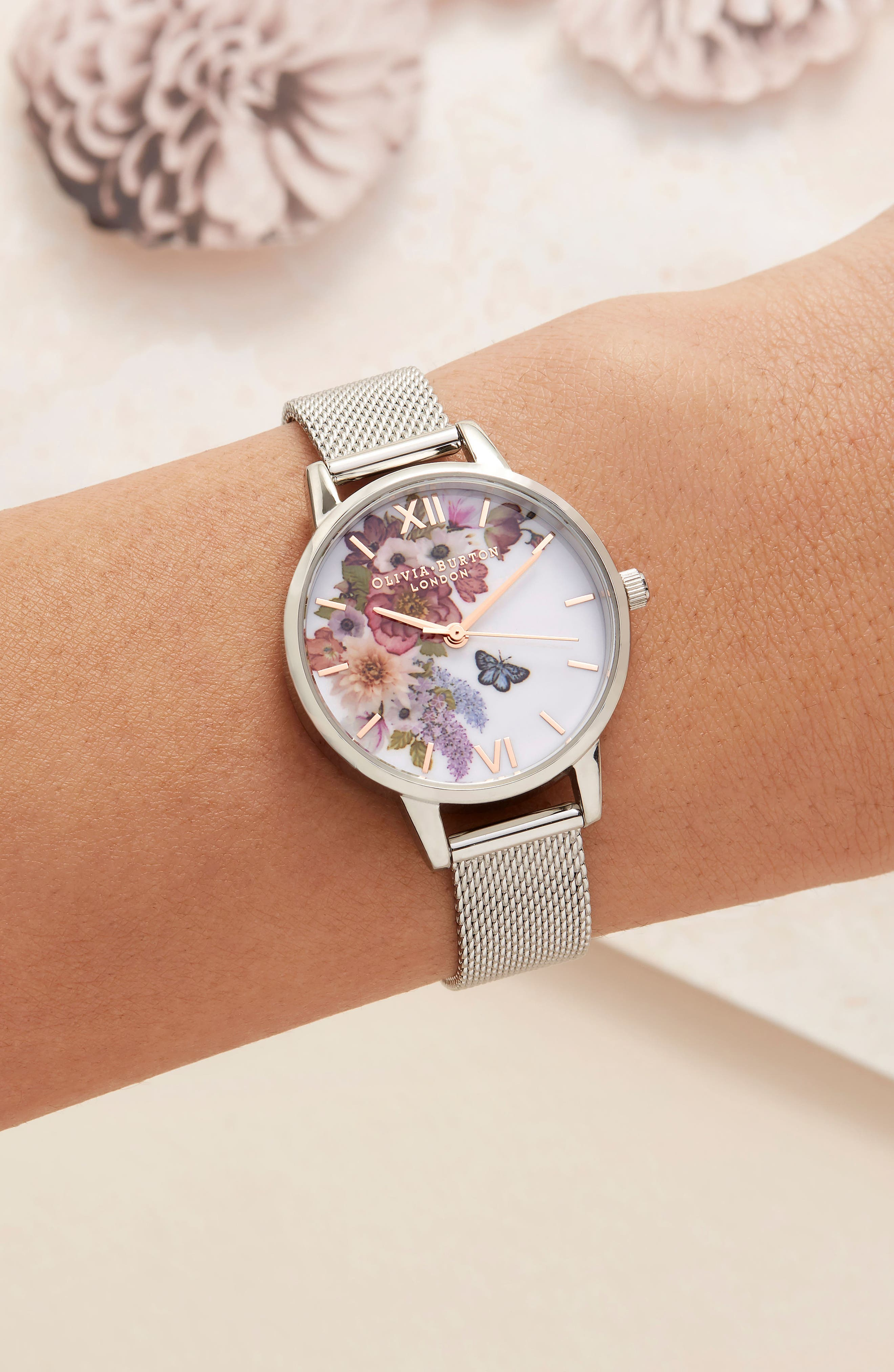 Enchanted Garden Mesh Strap Watch, 30mm,                             Alternate thumbnail 8, color,                             SILVER/ FLORAL/ ROSE GOLD