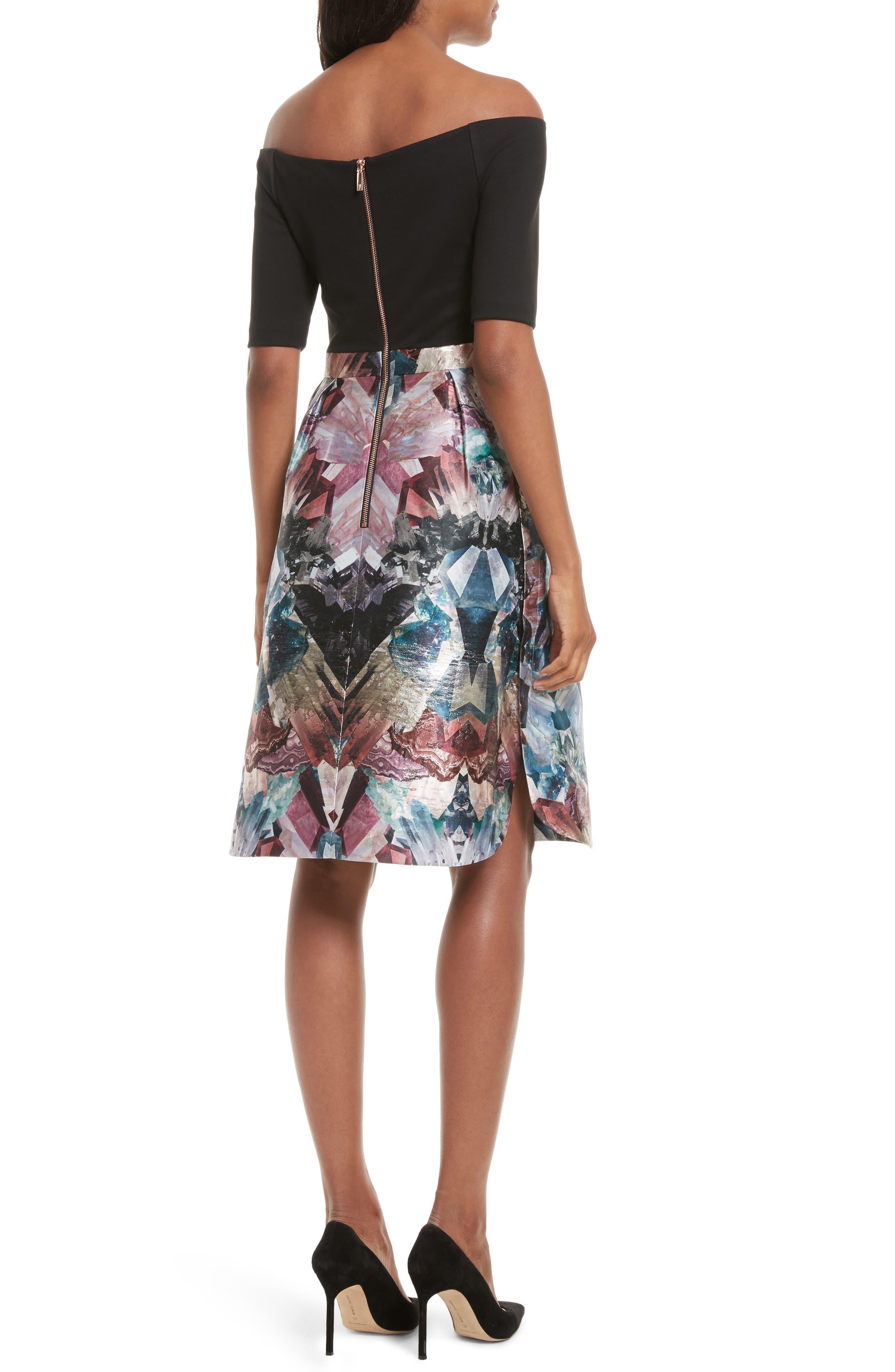 Keris Mirrored Minerals Tulip Fit & Flare Dress,                             Alternate thumbnail 2, color,                             001