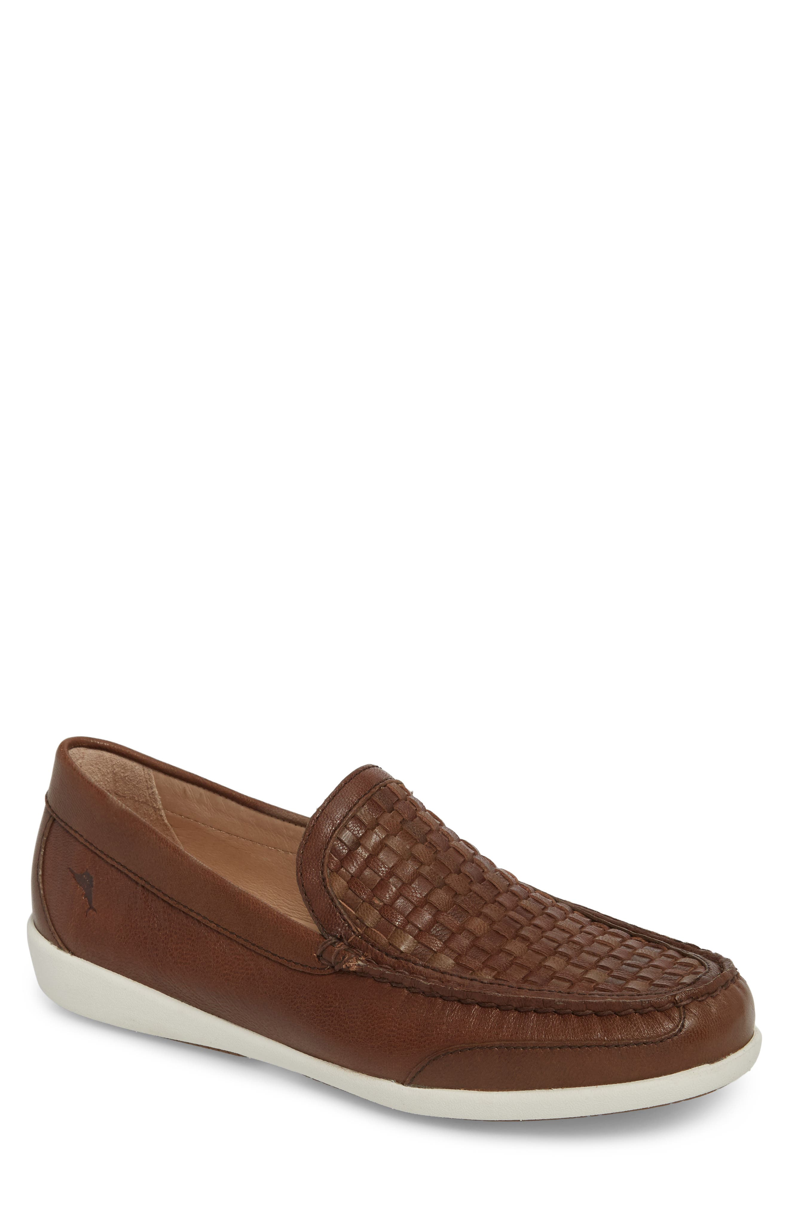 Taormina Woven Loafer,                             Main thumbnail 1, color,                             DARK BROWN LEATHER
