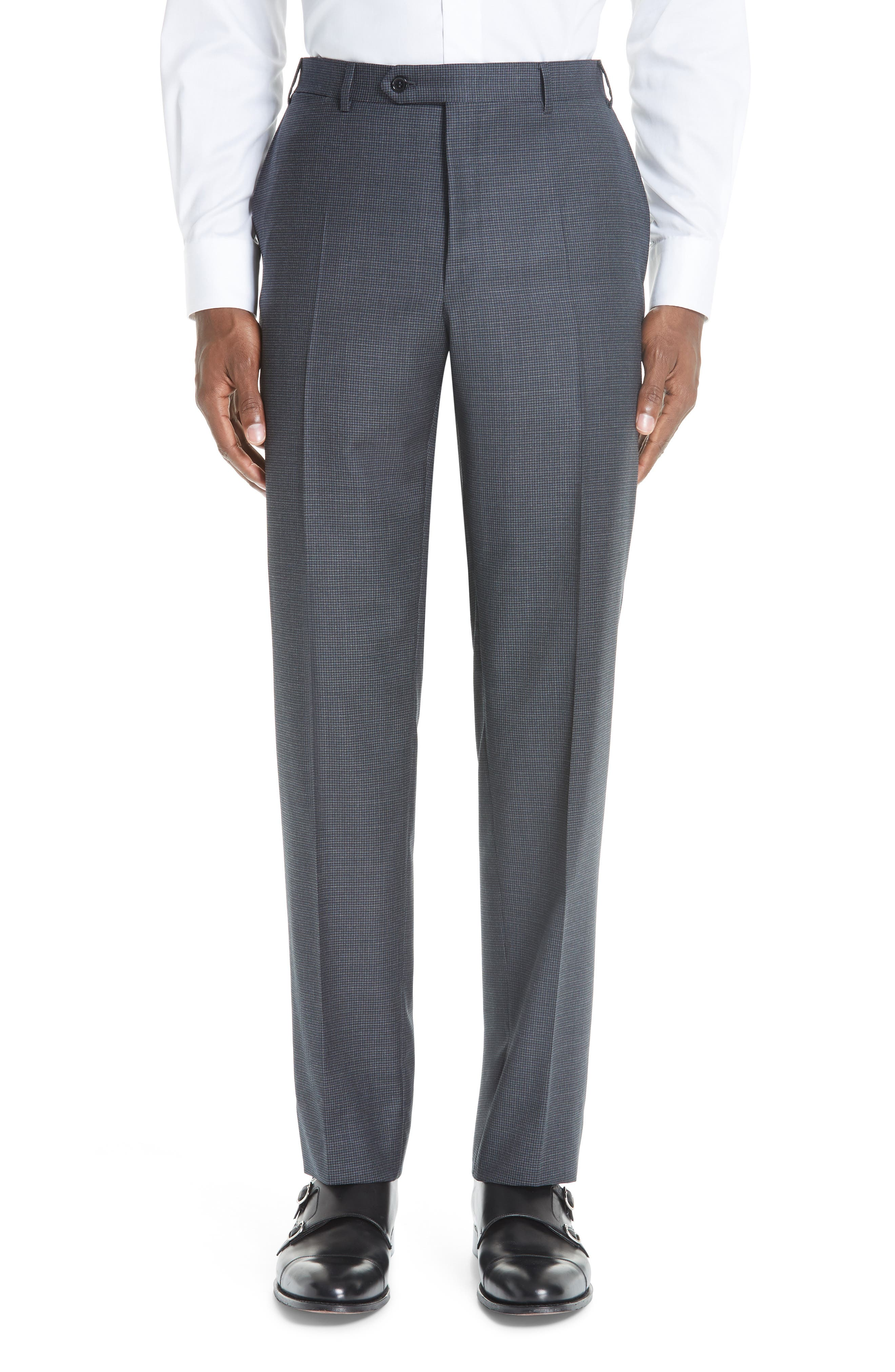 Classic Fit Houndstooth Wool Suit,                             Alternate thumbnail 5, color,                             DARK GREY