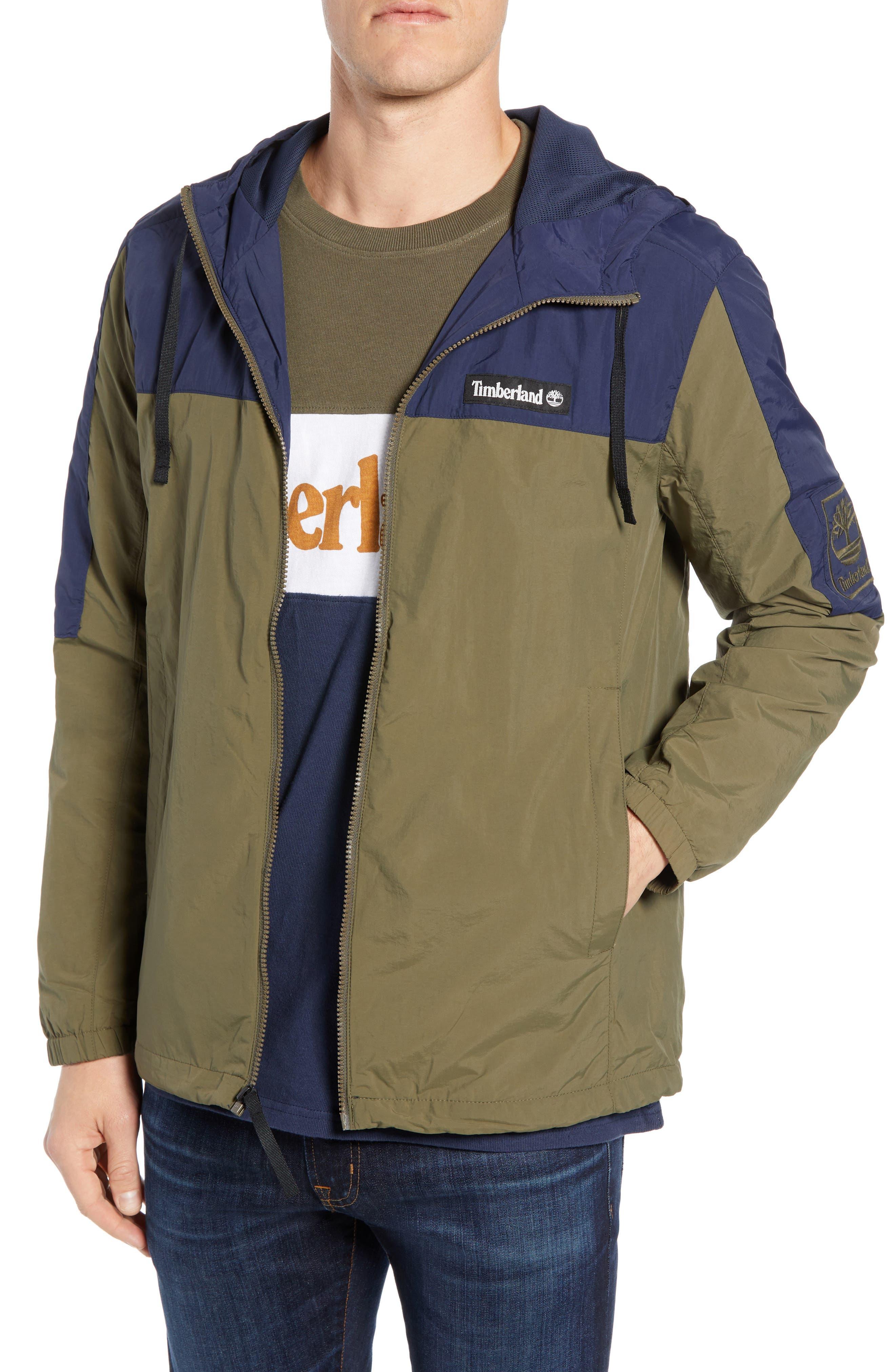 Windbreaker Hooded Jacket,                             Main thumbnail 1, color,                             GRAPE LEAF/ BLACK IRIS
