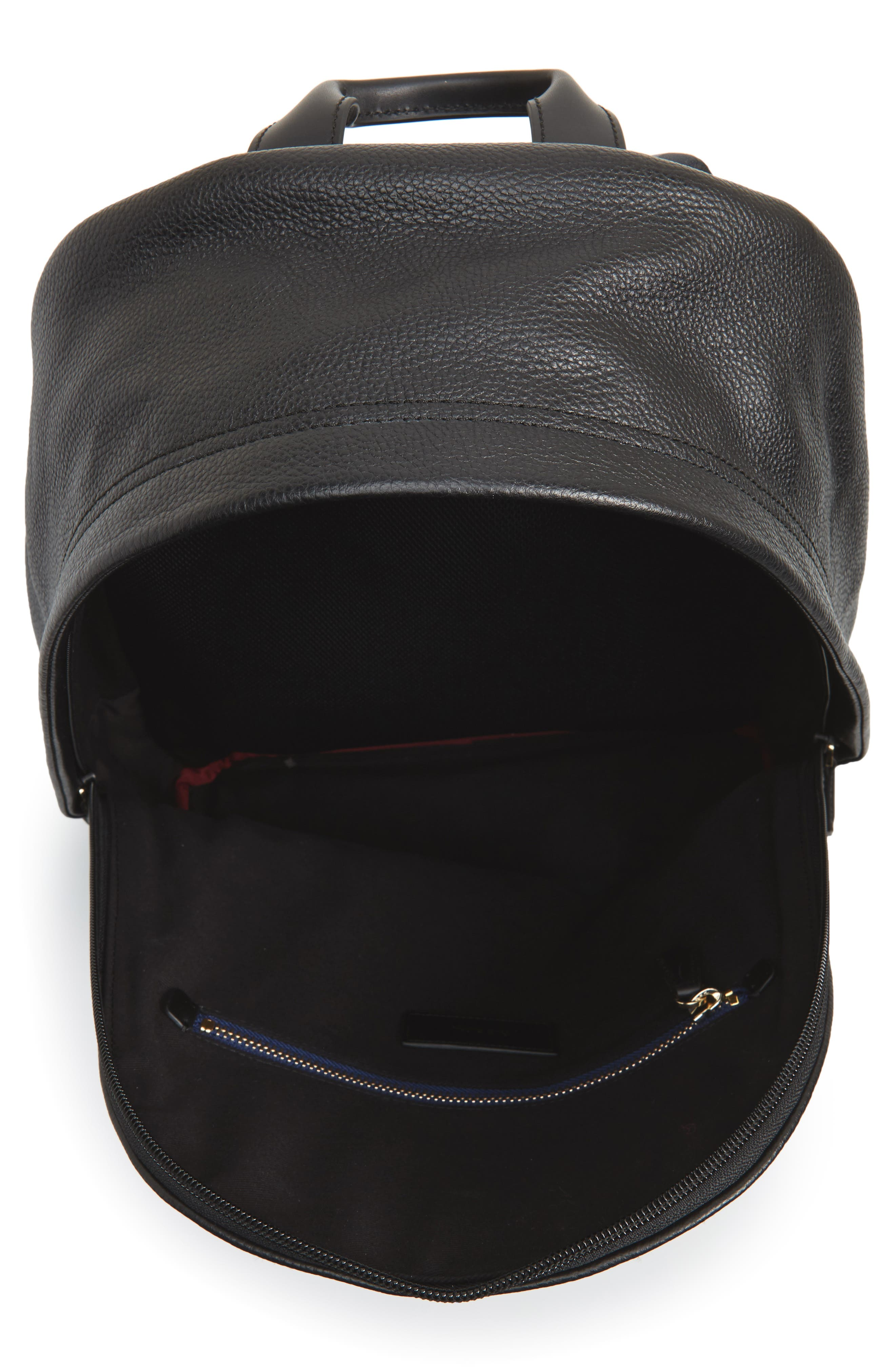 City Webbing Leather Backpack,                             Alternate thumbnail 4, color,                             001