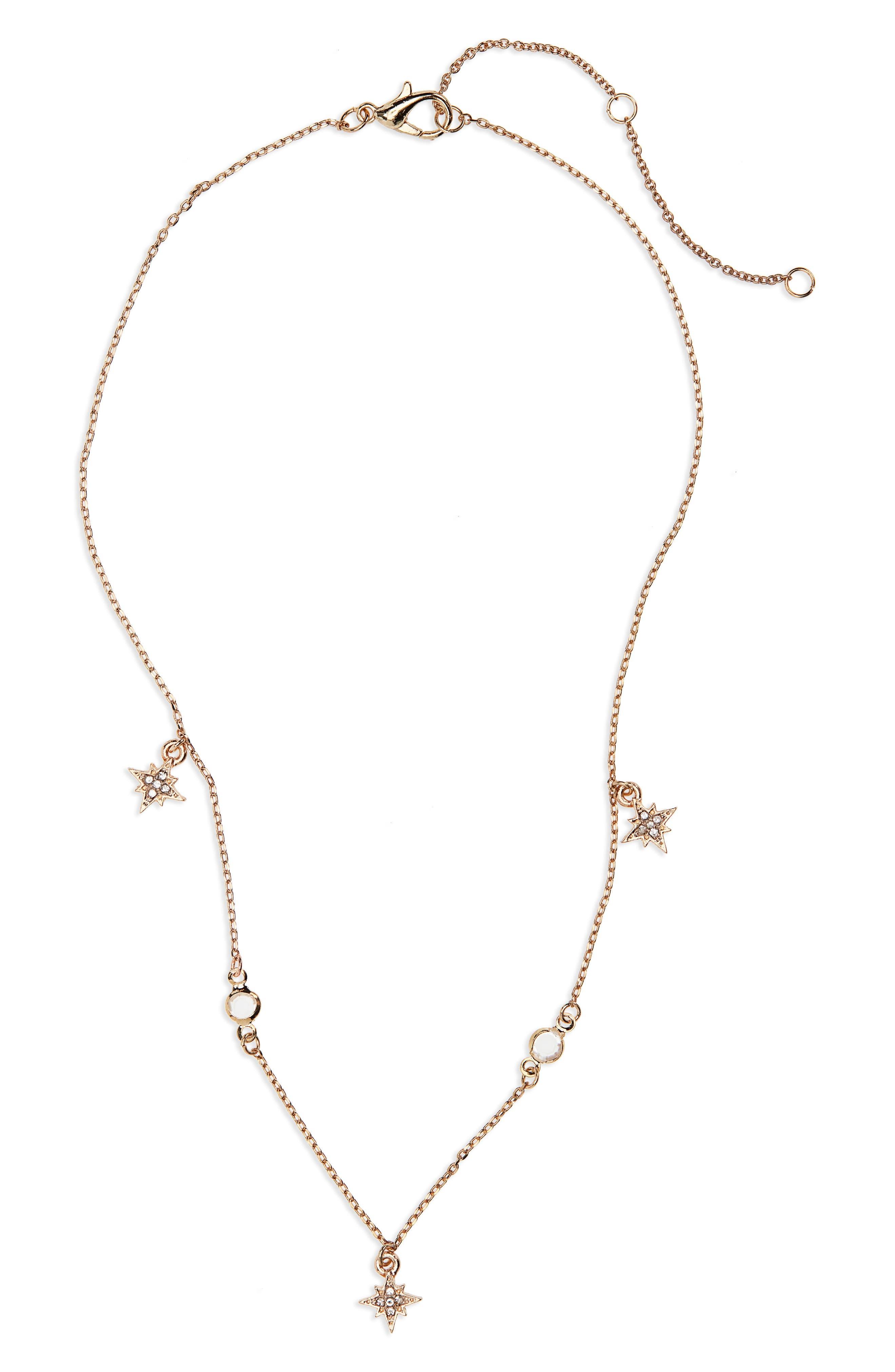 Dainty Star Crystal Necklace,                             Main thumbnail 1, color,                             710