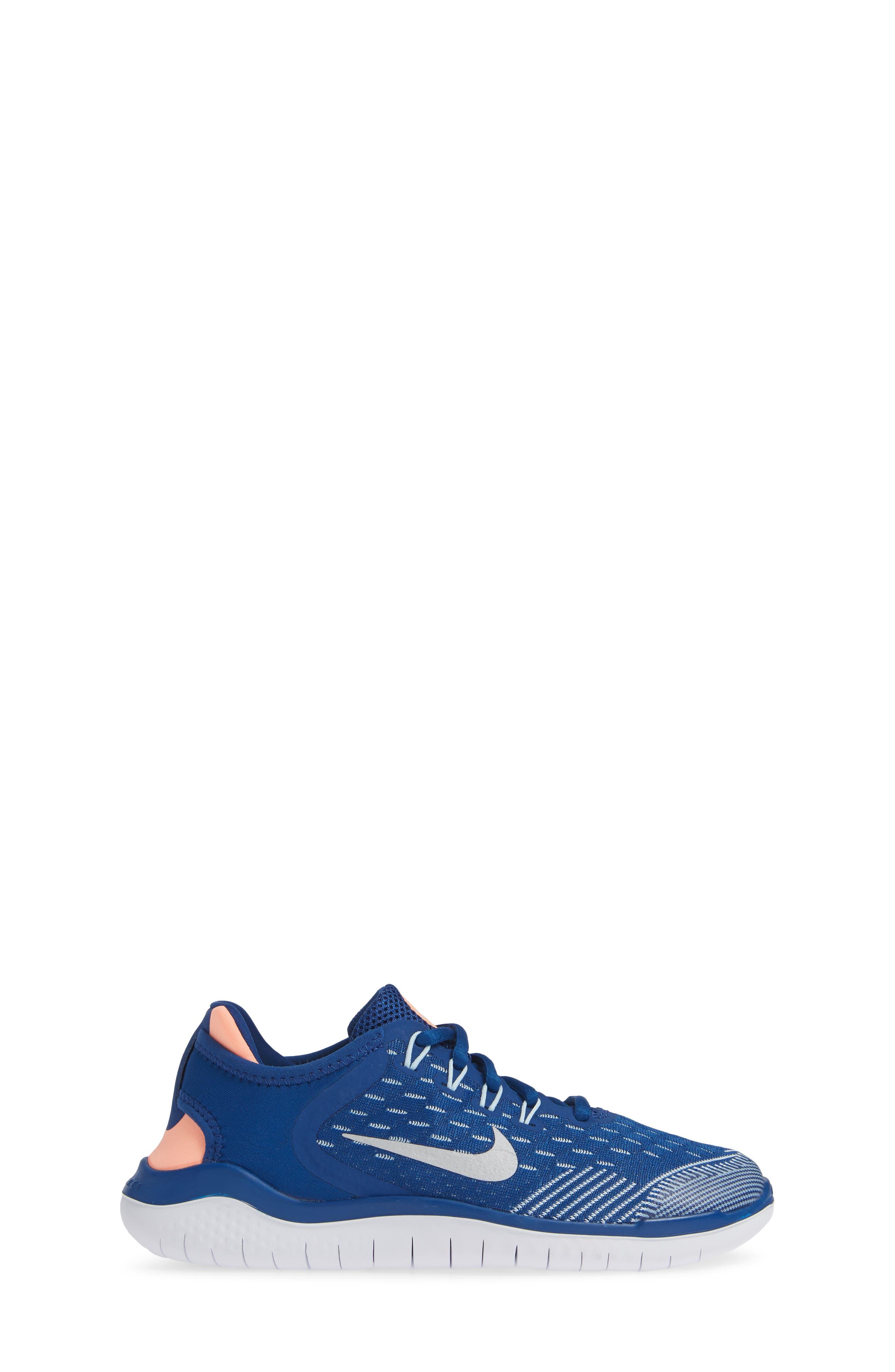 Free RN 2018 Running Shoe,                             Alternate thumbnail 3, color,                             GYM BLUE/ METALLIC SILVER