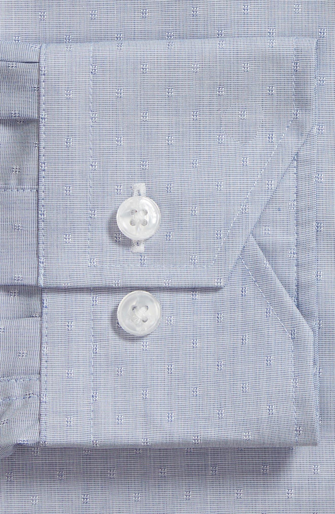 Trim Fit Dot Dress Shirt,                             Alternate thumbnail 6, color,                             BLUE