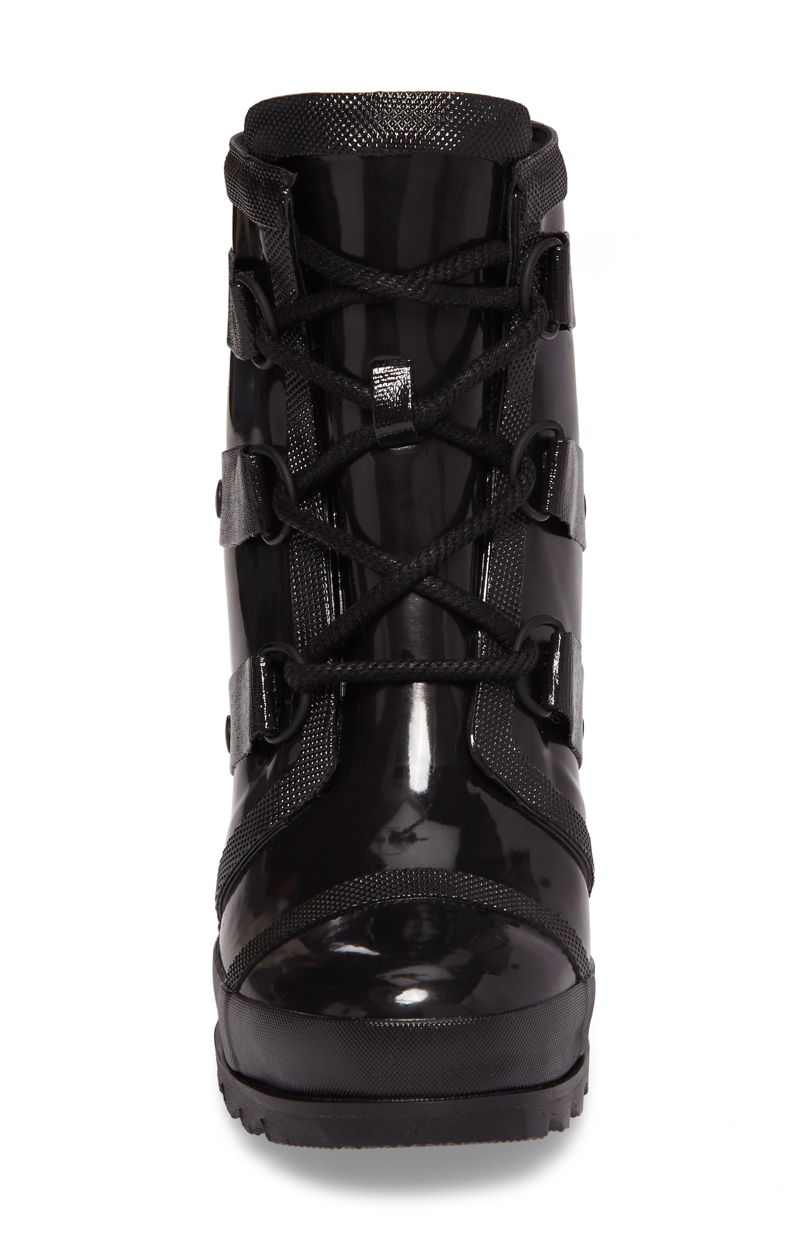 Joan Glossy Wedge Rain Boot,                             Alternate thumbnail 4, color,                             BLACK/ SEA SALT