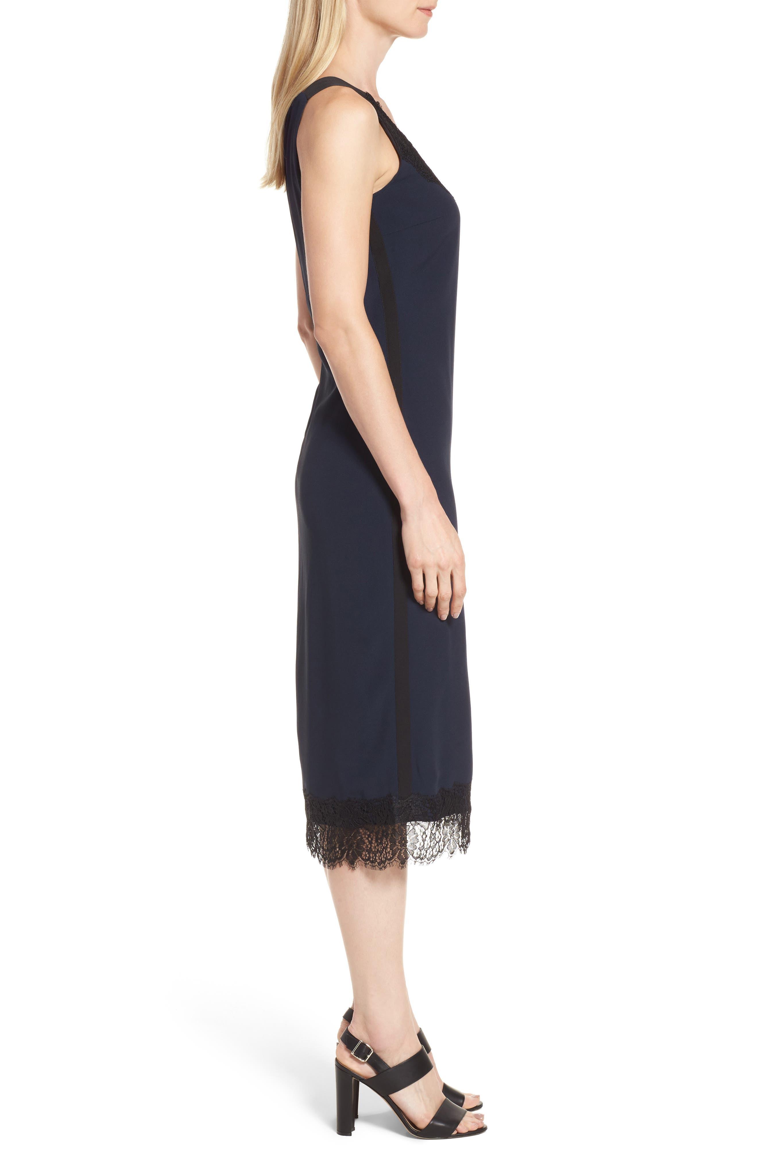 Haminka Lace Trim Shift Dress,                             Alternate thumbnail 3, color,                             480
