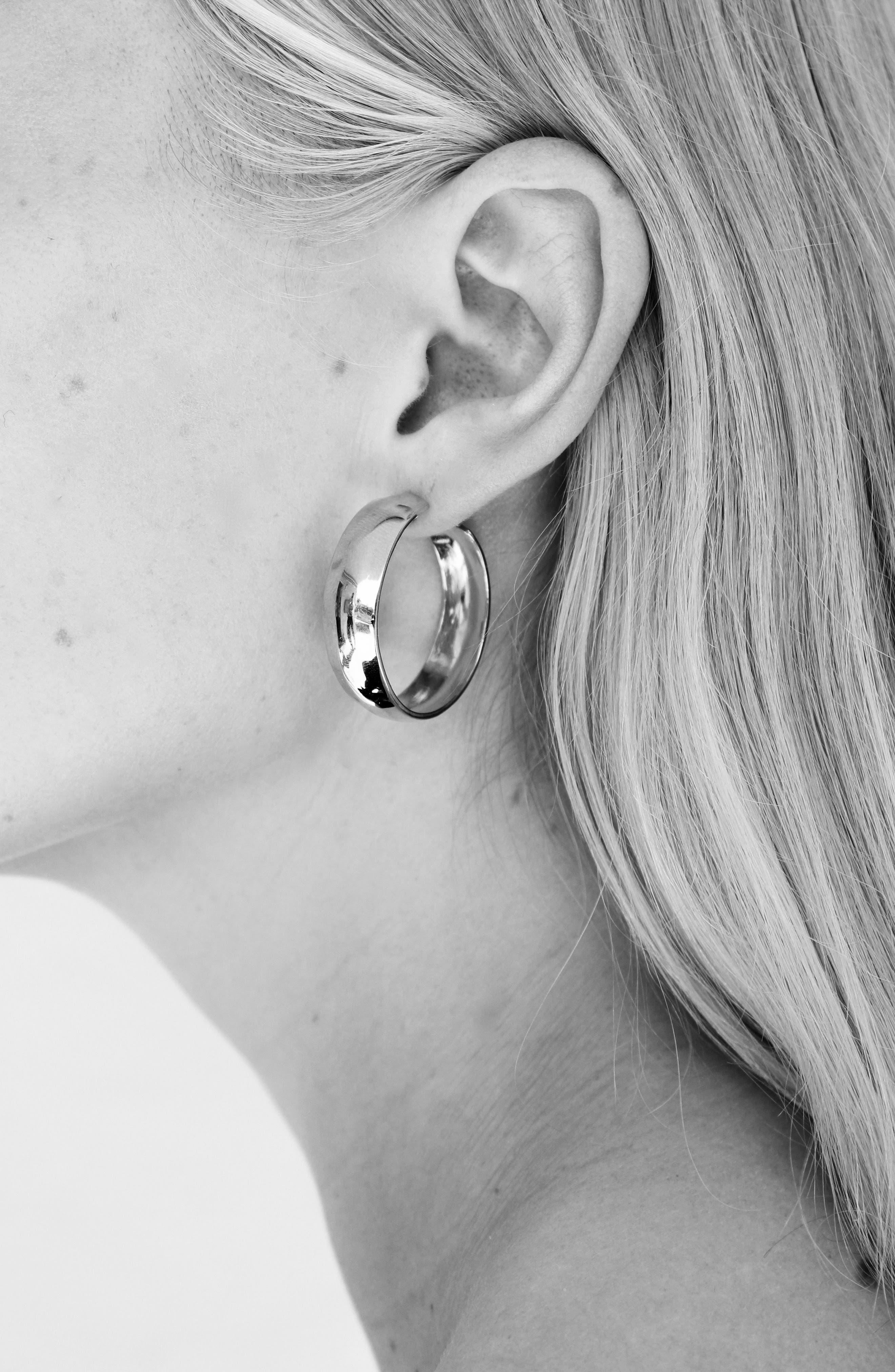 Large Zora Vermeil Hoop Earrings,                             Alternate thumbnail 3, color,                             18K GOLD VERMEIL