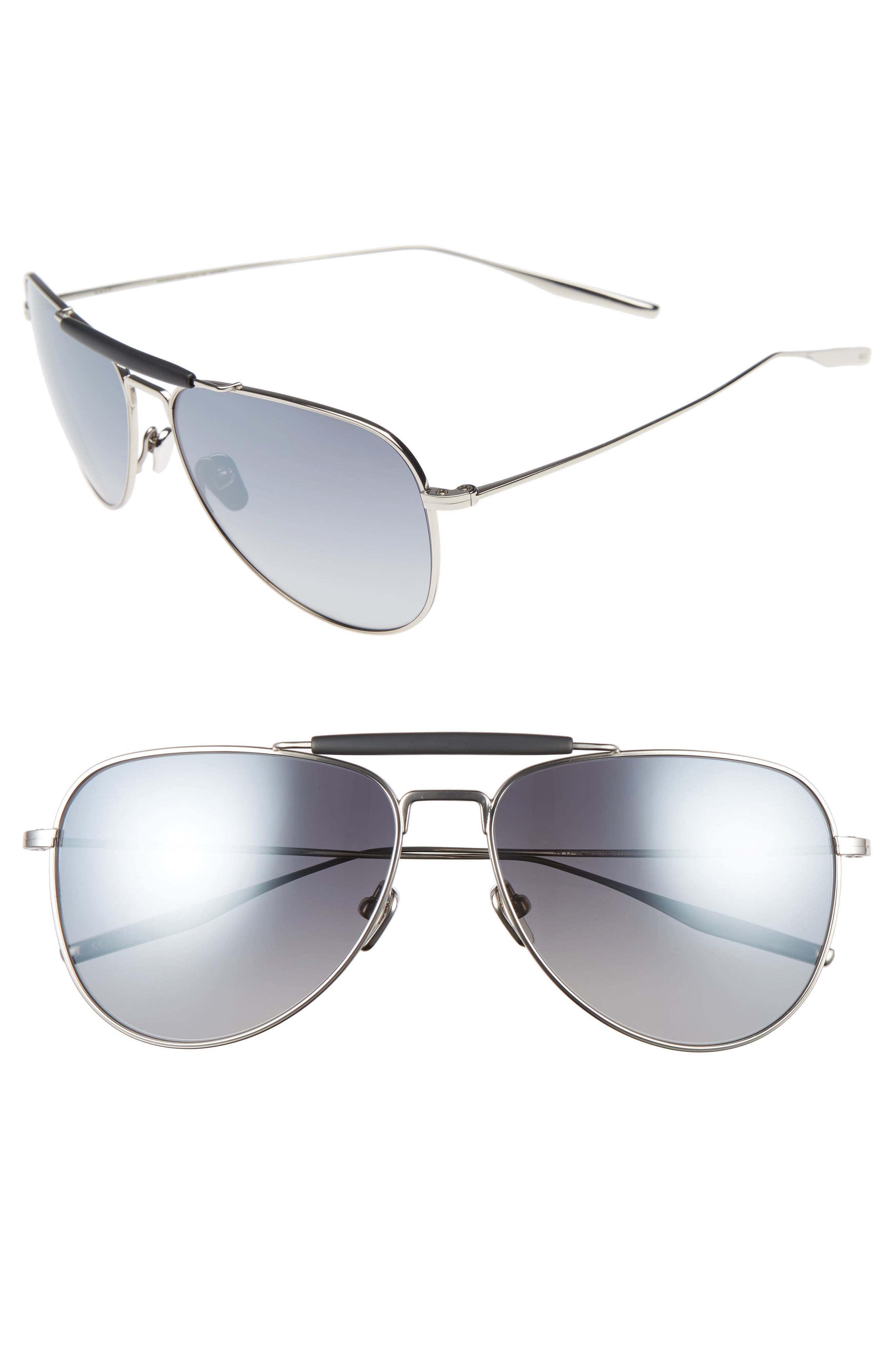 Striker 59mm Aviator Sunglasses,                             Alternate thumbnail 2, color,                             TRADITIONAL SILVER