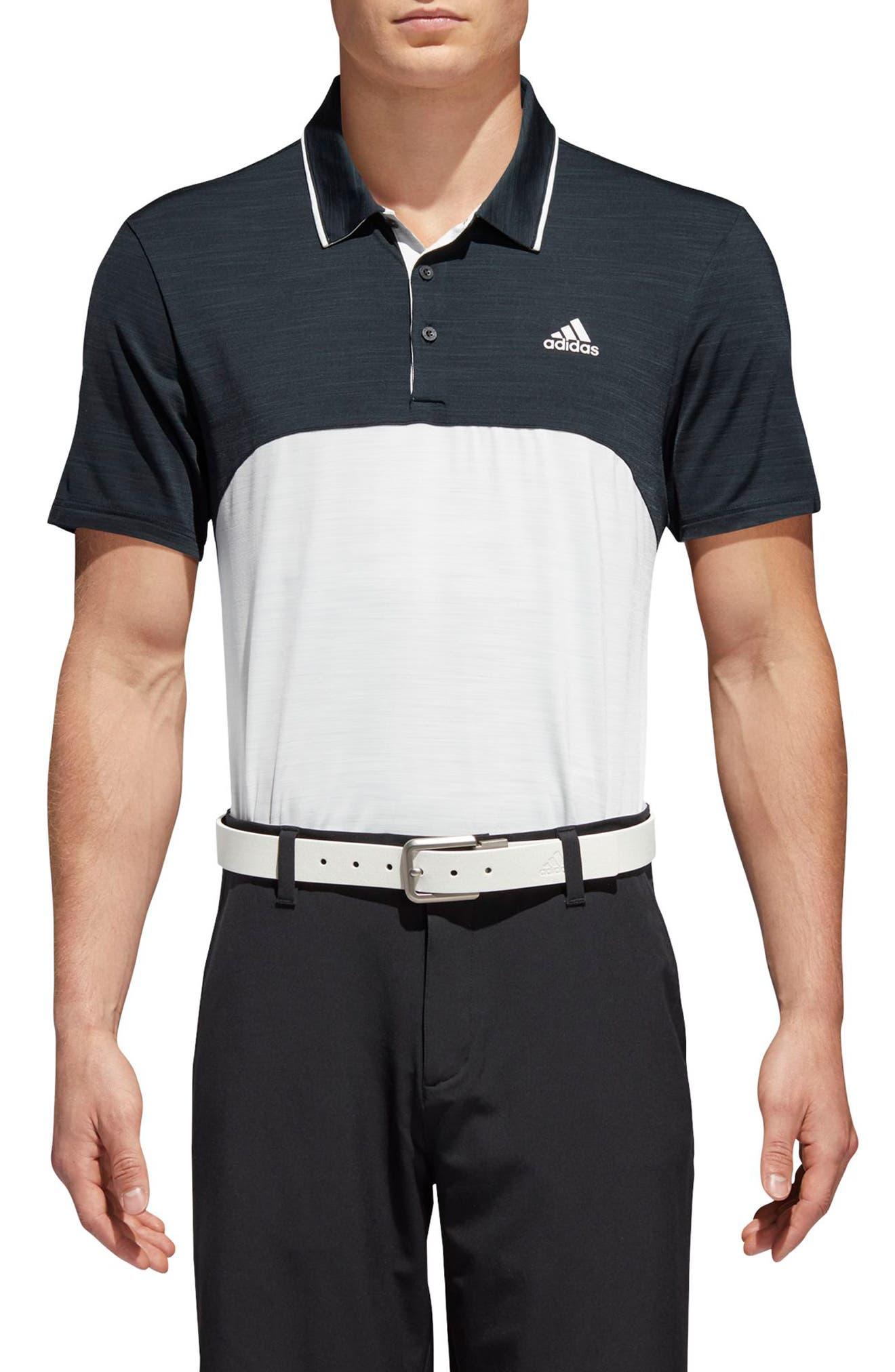 adidas Ultimate Heather Colorblock Regular Fit Polo Shirt,                         Main,                         color, NAVY/ GREY