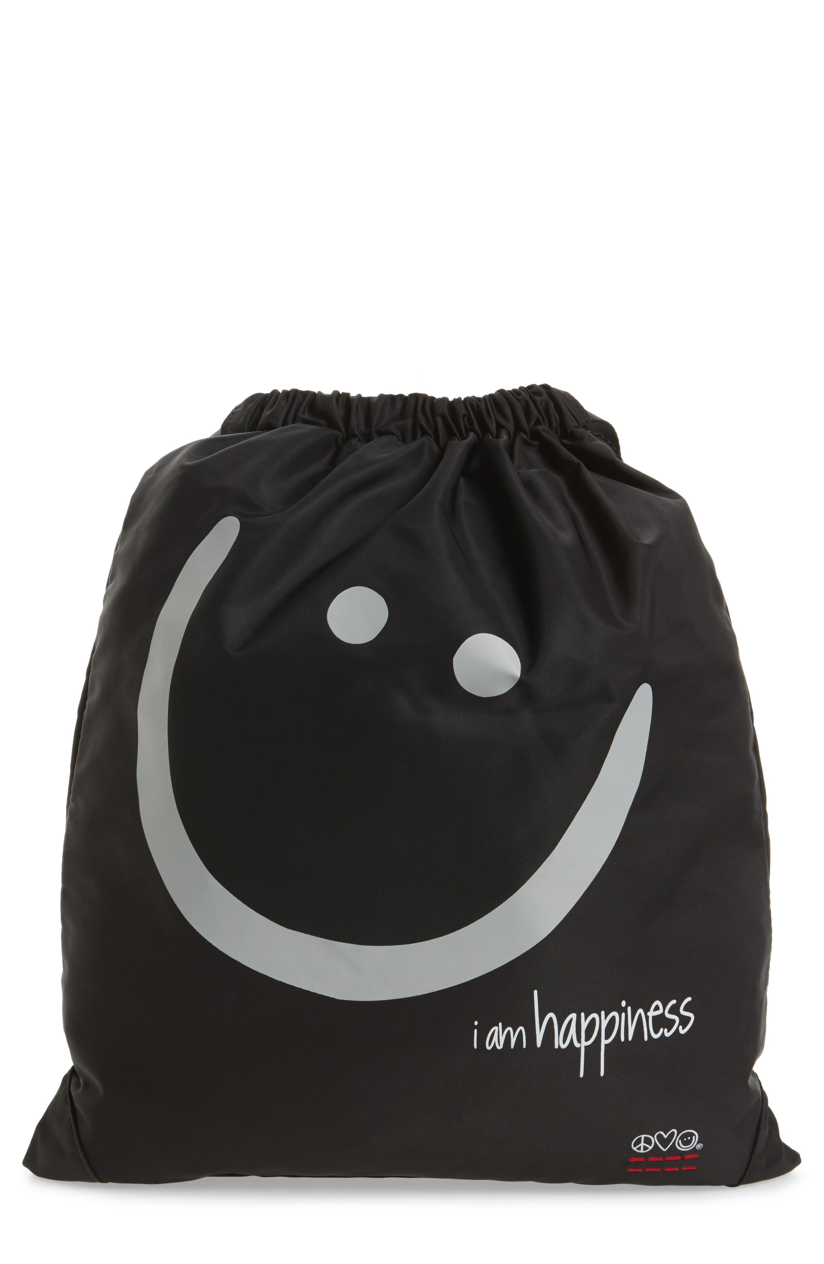 Drawstring Nylon Backpack,                         Main,                         color, 001
