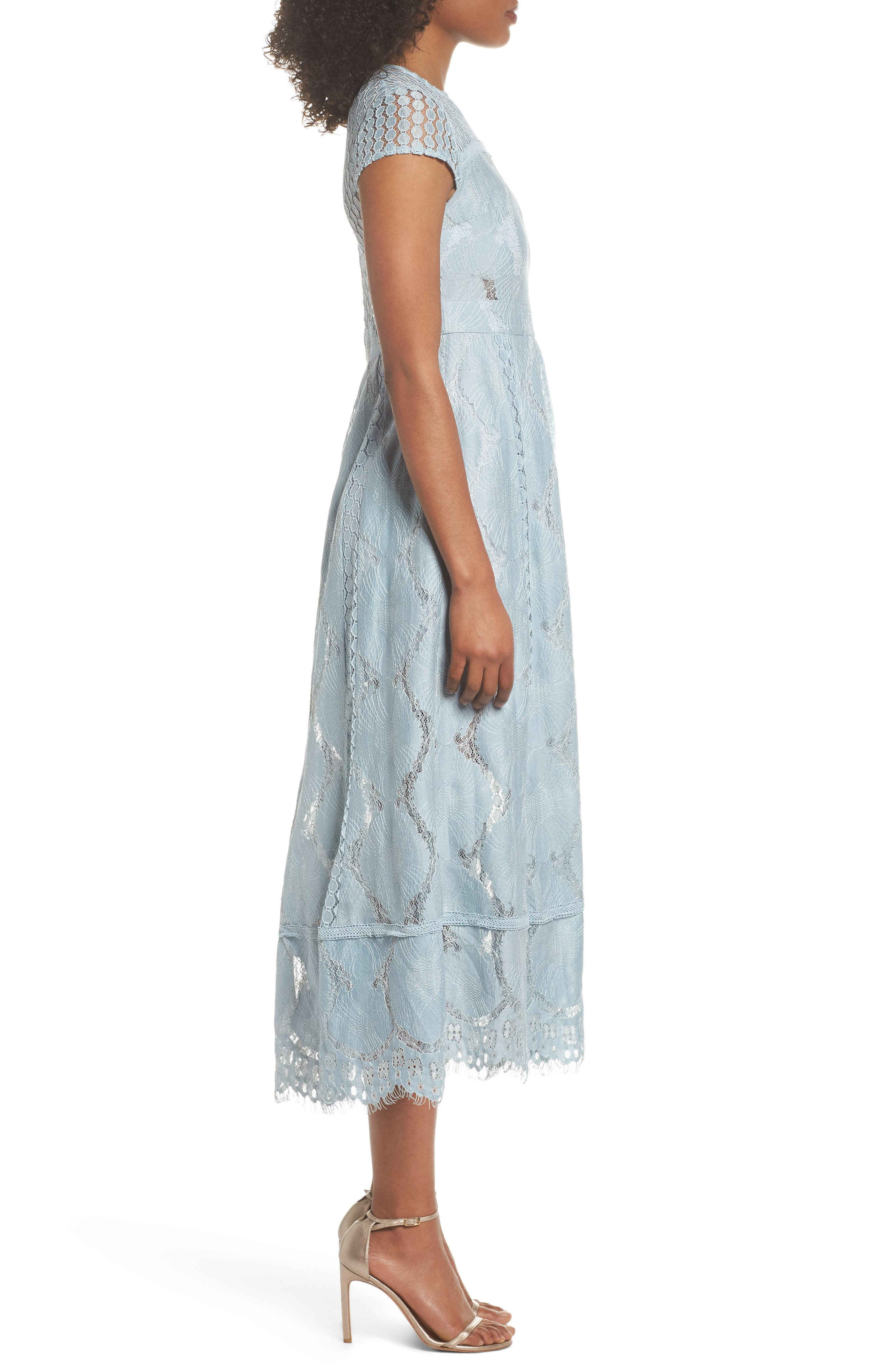 Theodora Lace Midi Dress,                             Alternate thumbnail 3, color,                             BLUEBELL