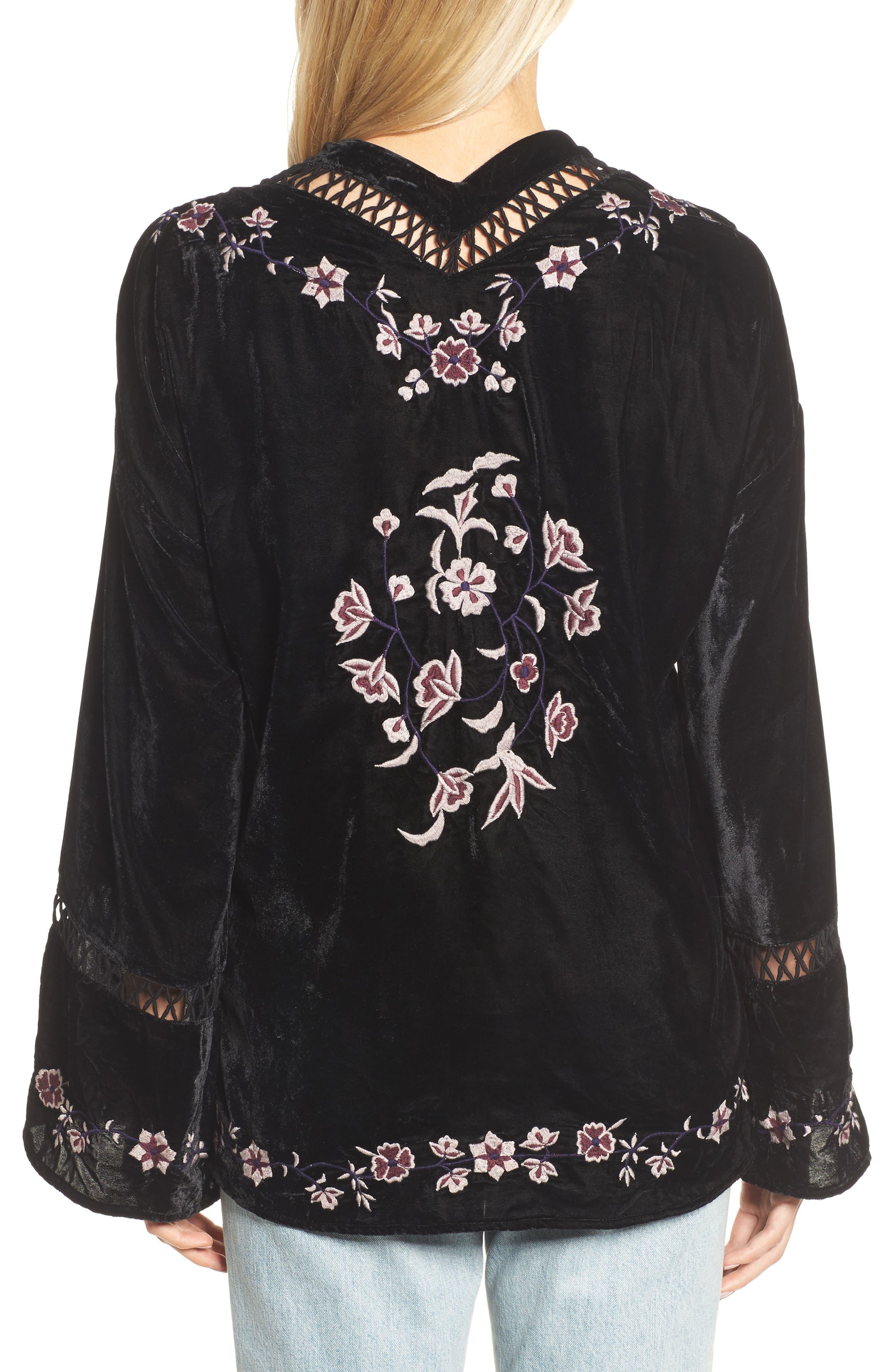 Embroidered Velvet Jacket,                             Alternate thumbnail 2, color,