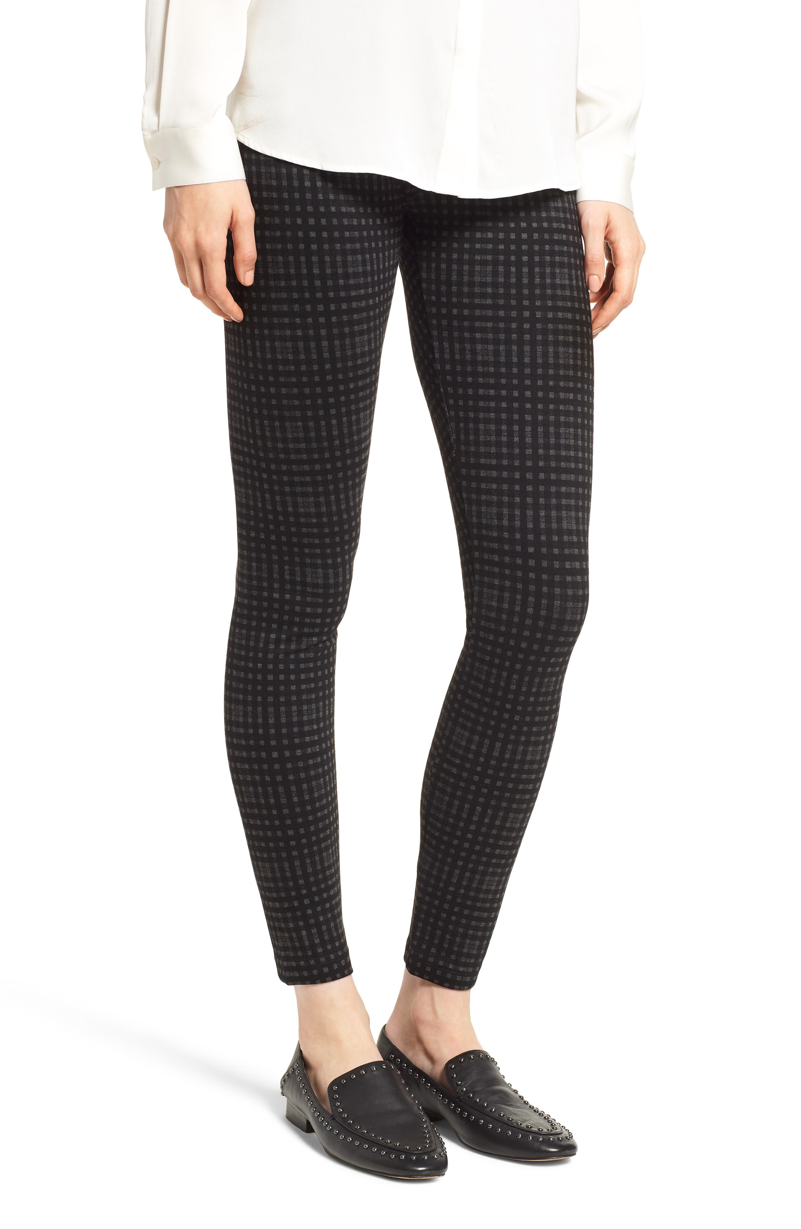 Center Seam Ponte Leggings,                             Main thumbnail 1, color,                             CHARCOAL CHECK