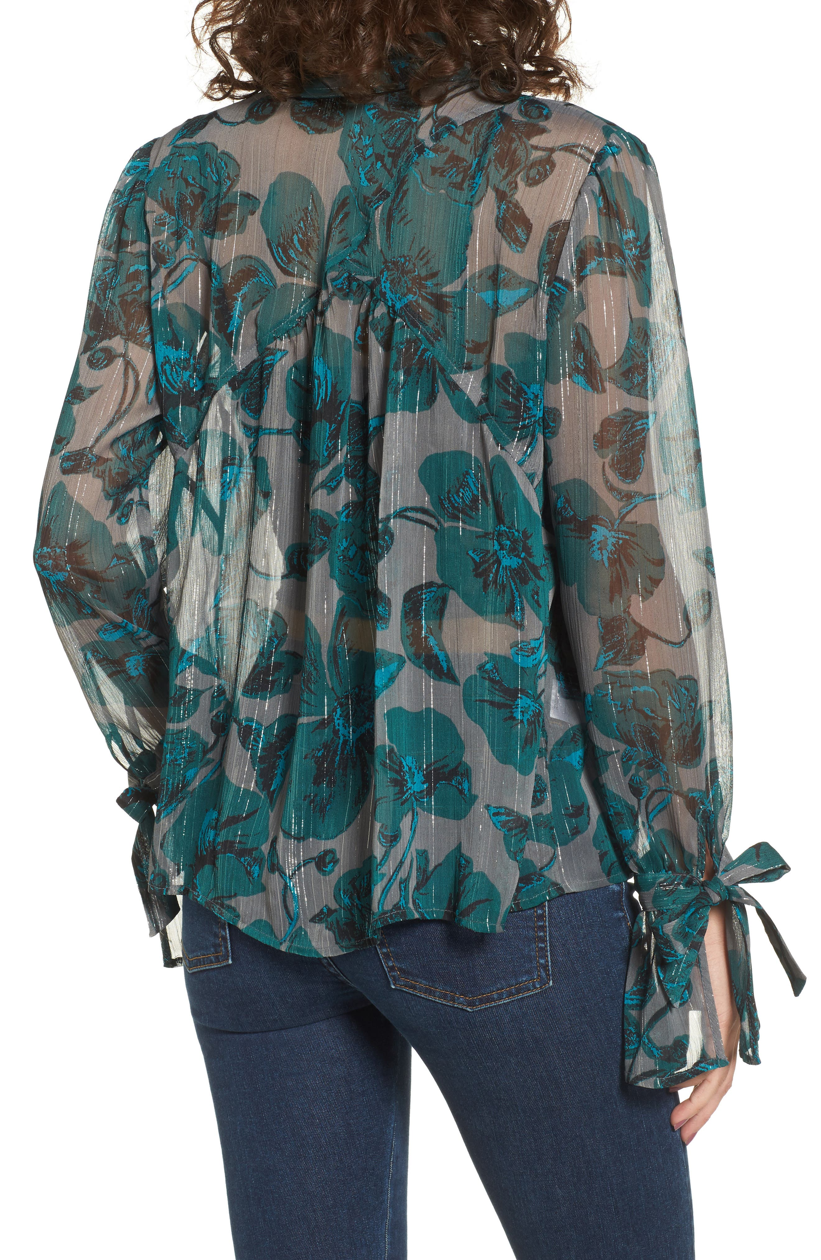 Sheer Metallic Floral Shirt,                             Alternate thumbnail 2, color,