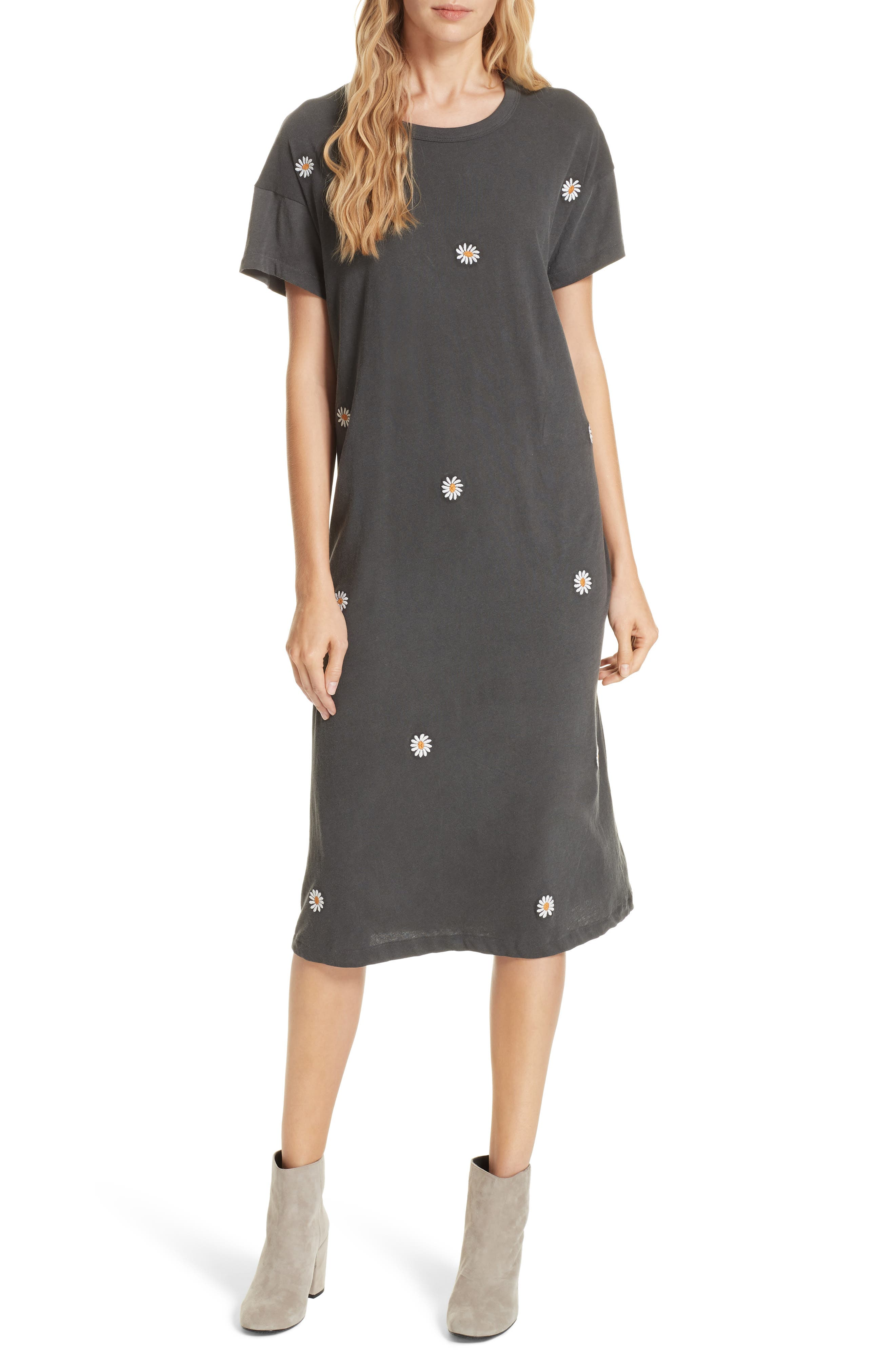 Boxy Embroidered T-Shirt Dress,                             Main thumbnail 1, color,                             WASHED BLACK W/ DAISY