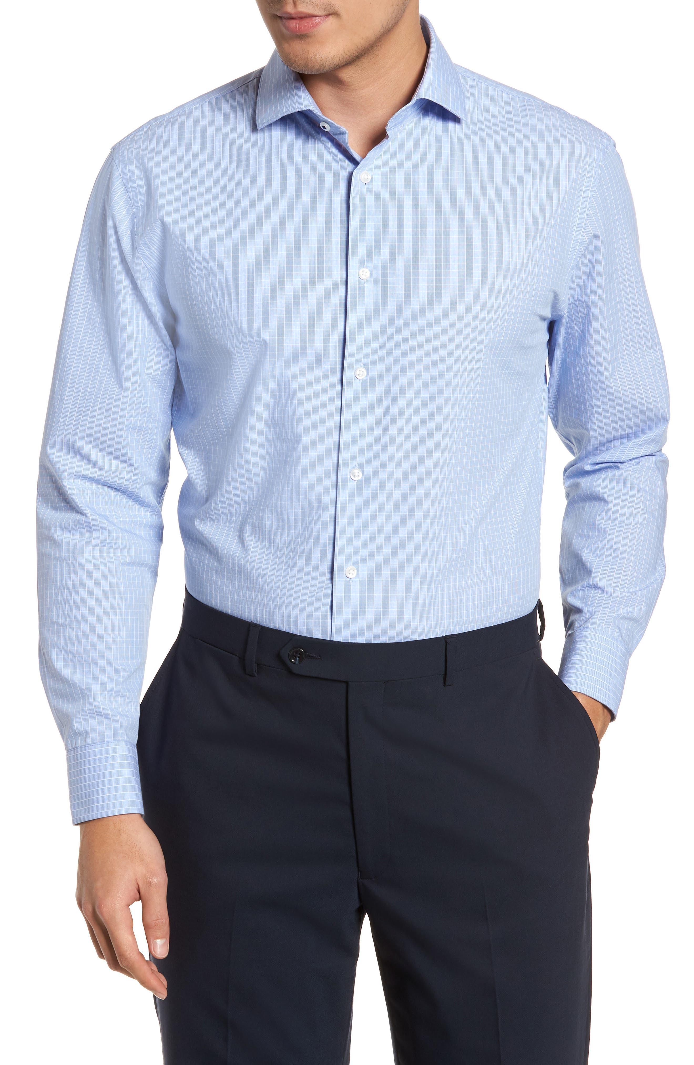 Tech-Smart Trim Fit Stretch Grid Dress Shirt,                         Main,                         color, 450