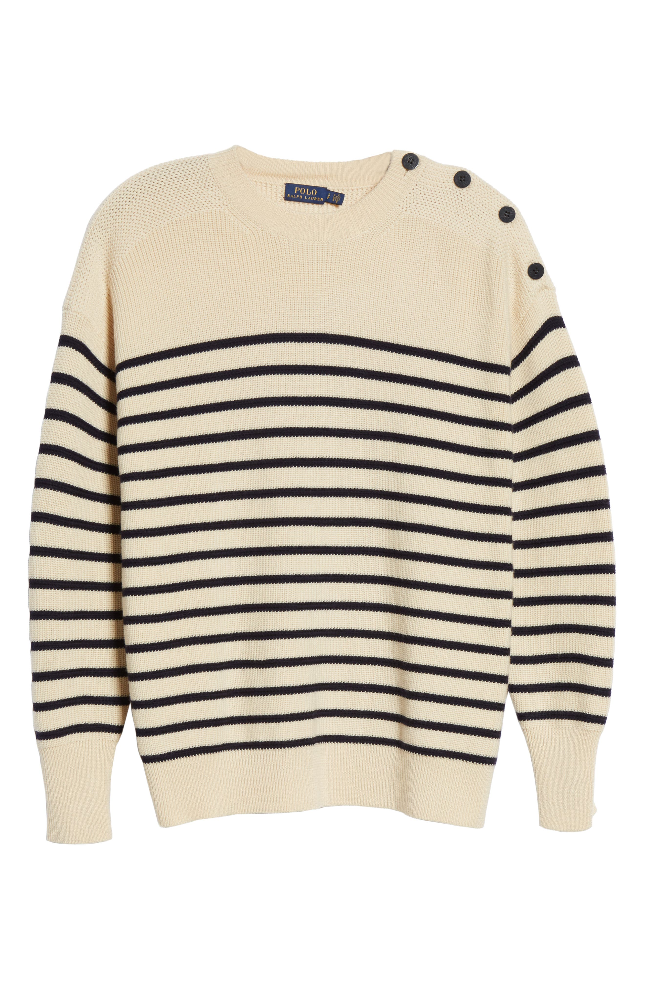 Stripe Wool Sweater,                             Alternate thumbnail 6, color,                             CREAM/ NAVY