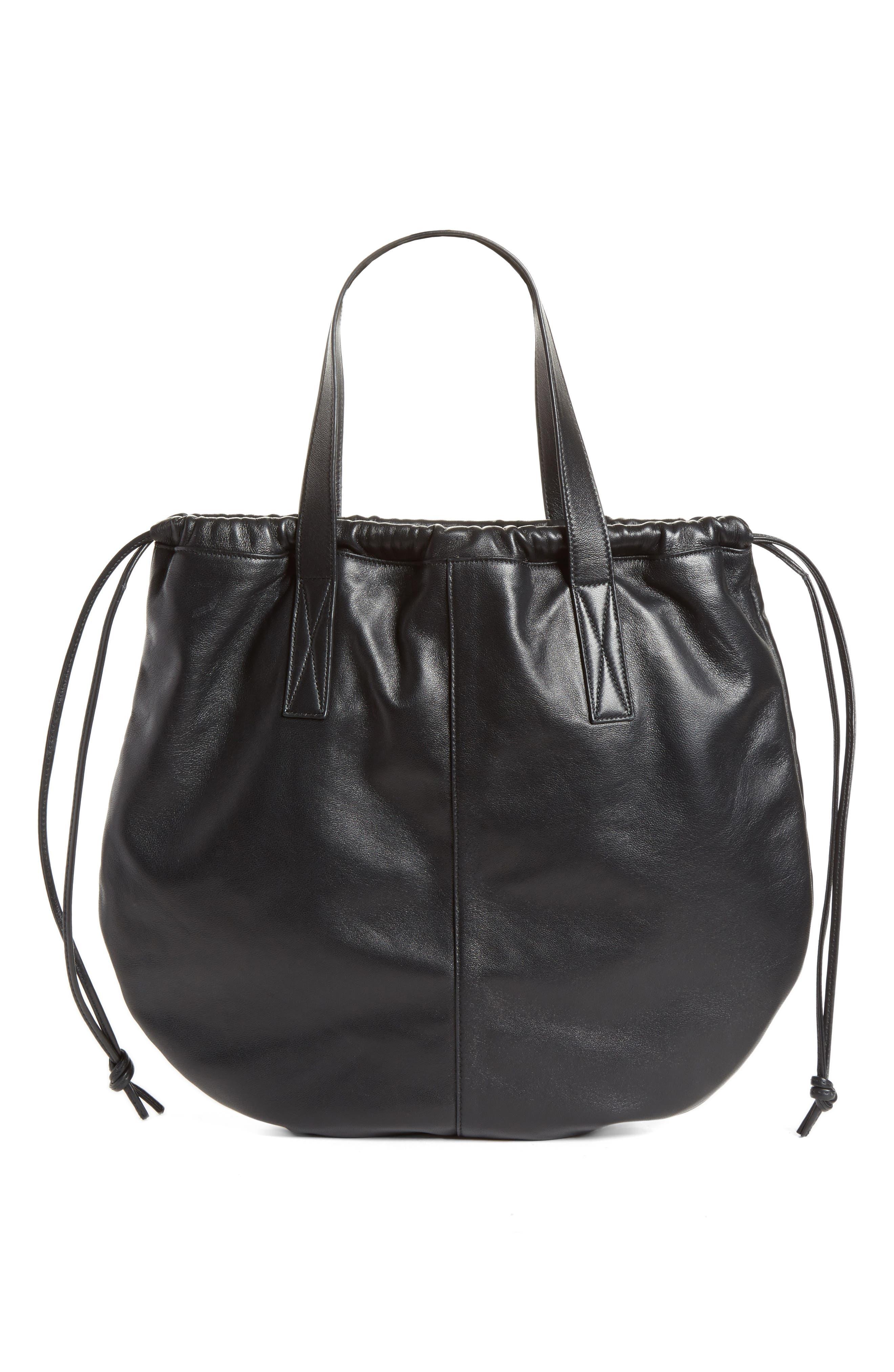 Helmet Lambskin Bucket Bag, Main, color, BLACK