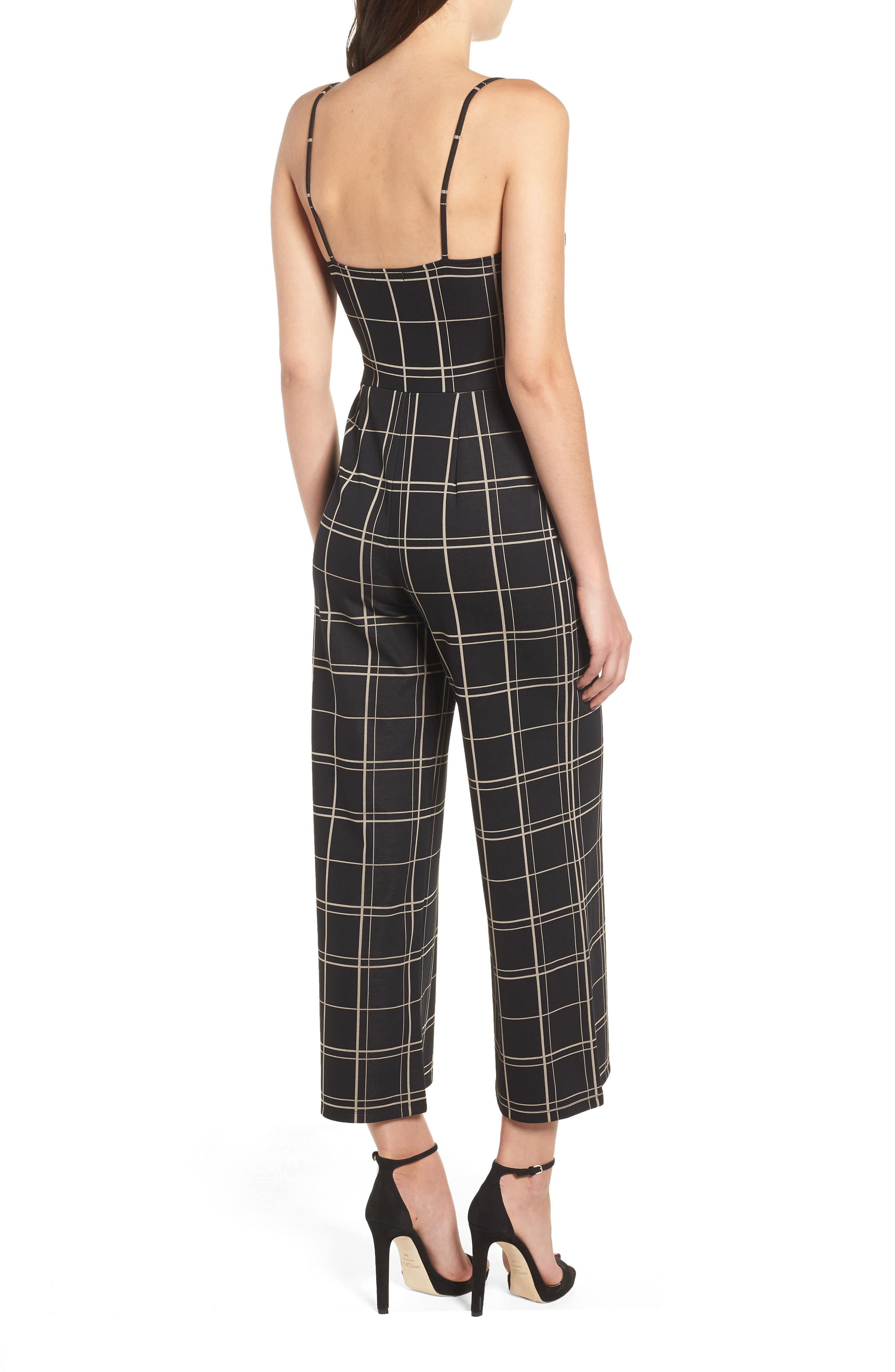 Windowpane Check Jumpsuit,                             Alternate thumbnail 2, color,                             BLACK GLAM CITY WINDOWS
