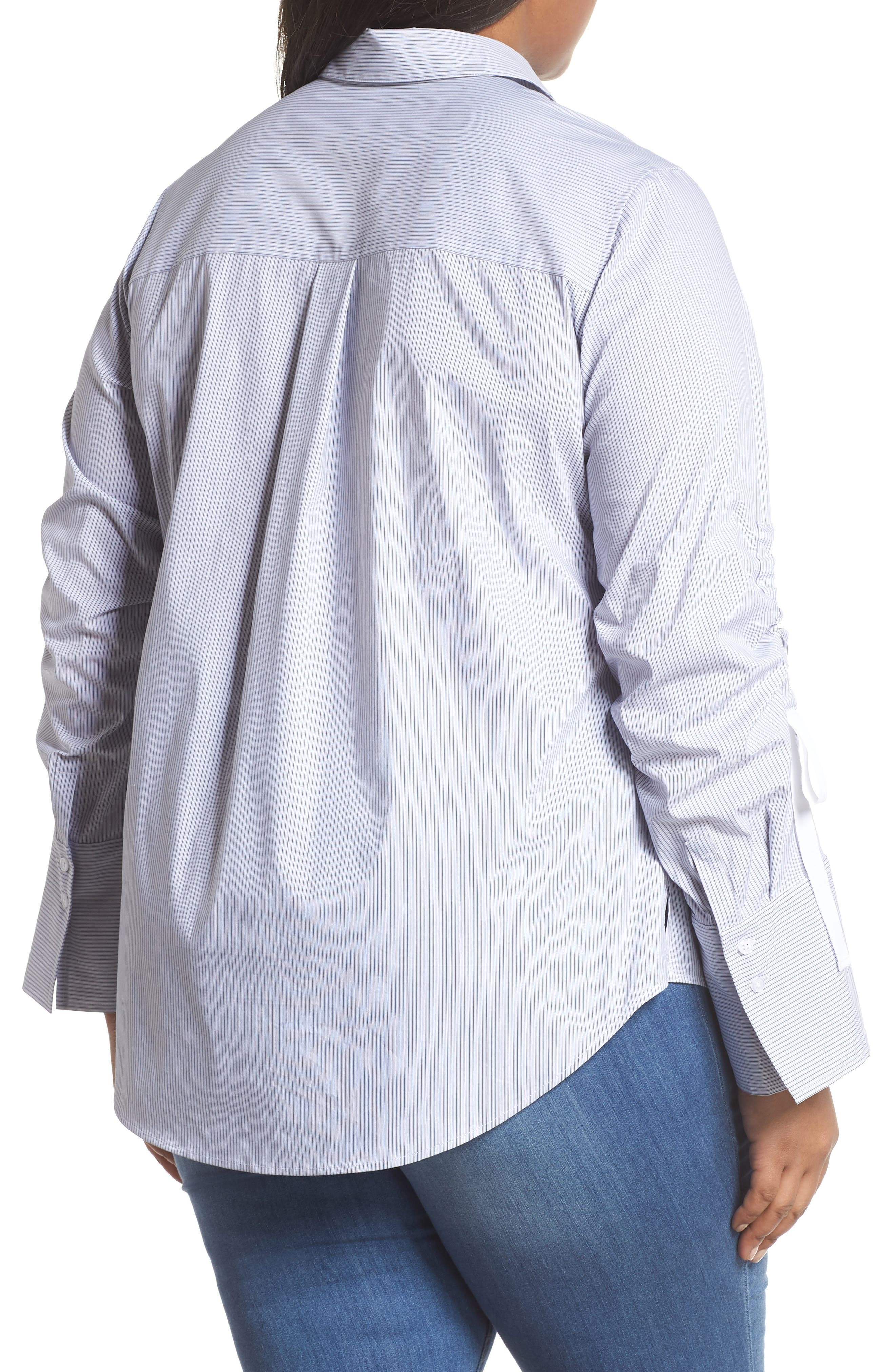Gathered Sleeve Button Front Shirt,                             Alternate thumbnail 2, color,