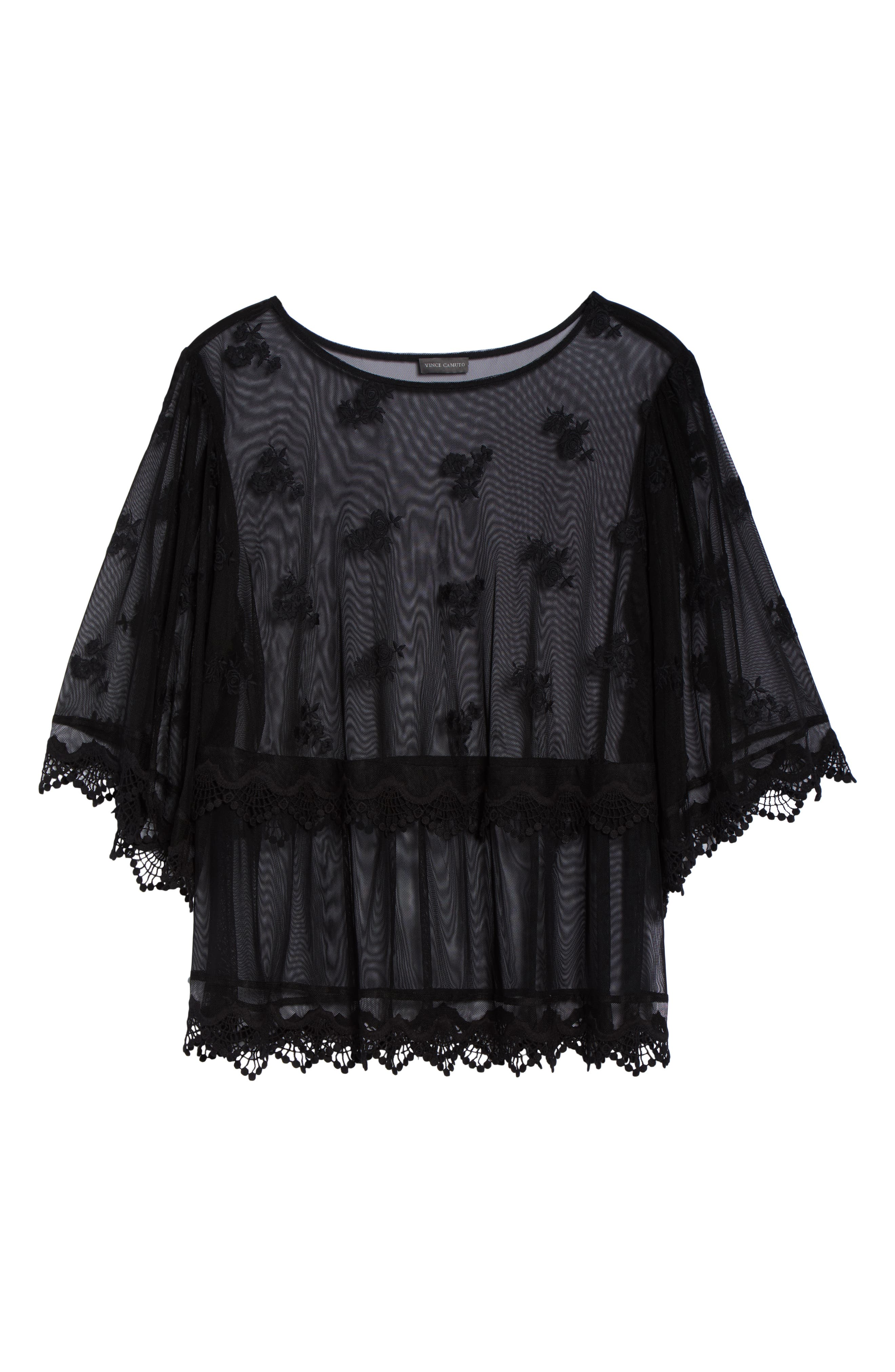Scallop Trim Embroidered Mesh Top,                             Alternate thumbnail 7, color,                             RICH BLACK