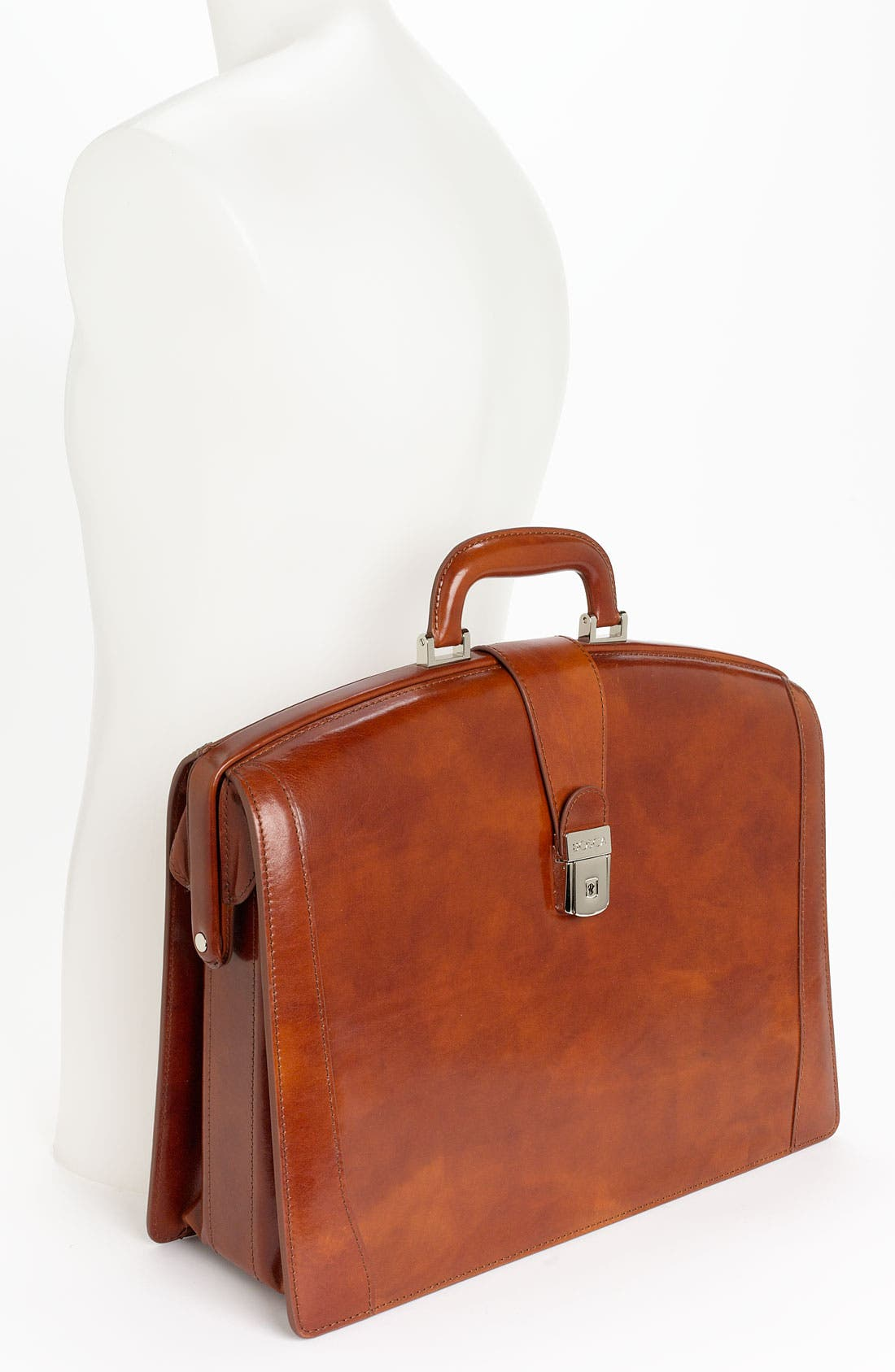 Triple Compartment Leather Briefcase,                             Alternate thumbnail 4, color,                             AMBER