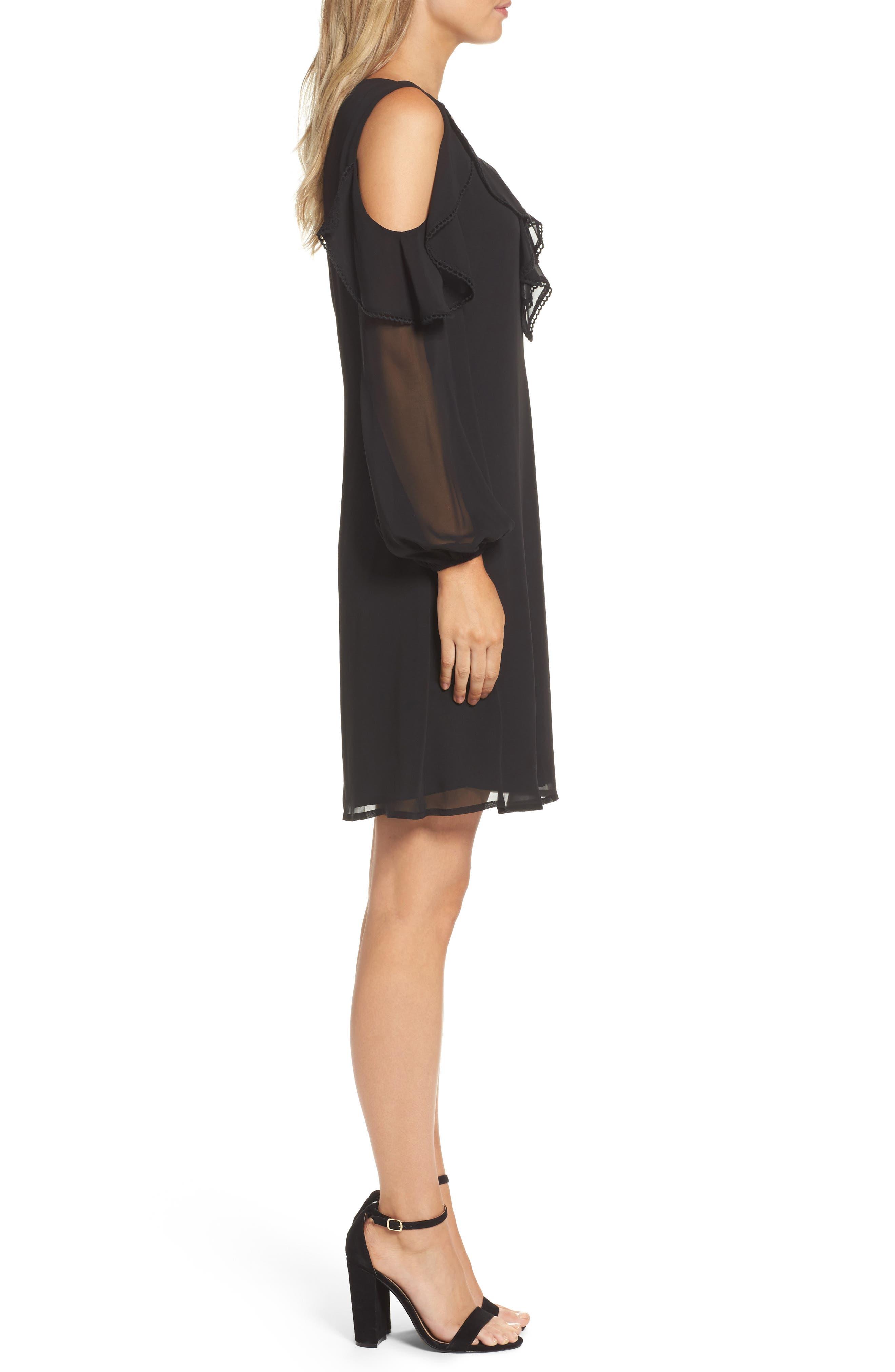 TAYLOR DRESSES,                             Chiffon Cold Shoulder A-Line Dress,                             Alternate thumbnail 3, color,                             001