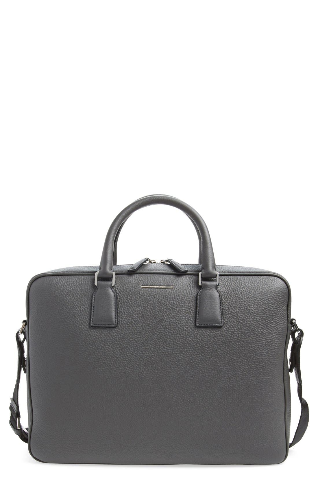 'Hamptons' Zip Leather Business Bag, Main, color, 032