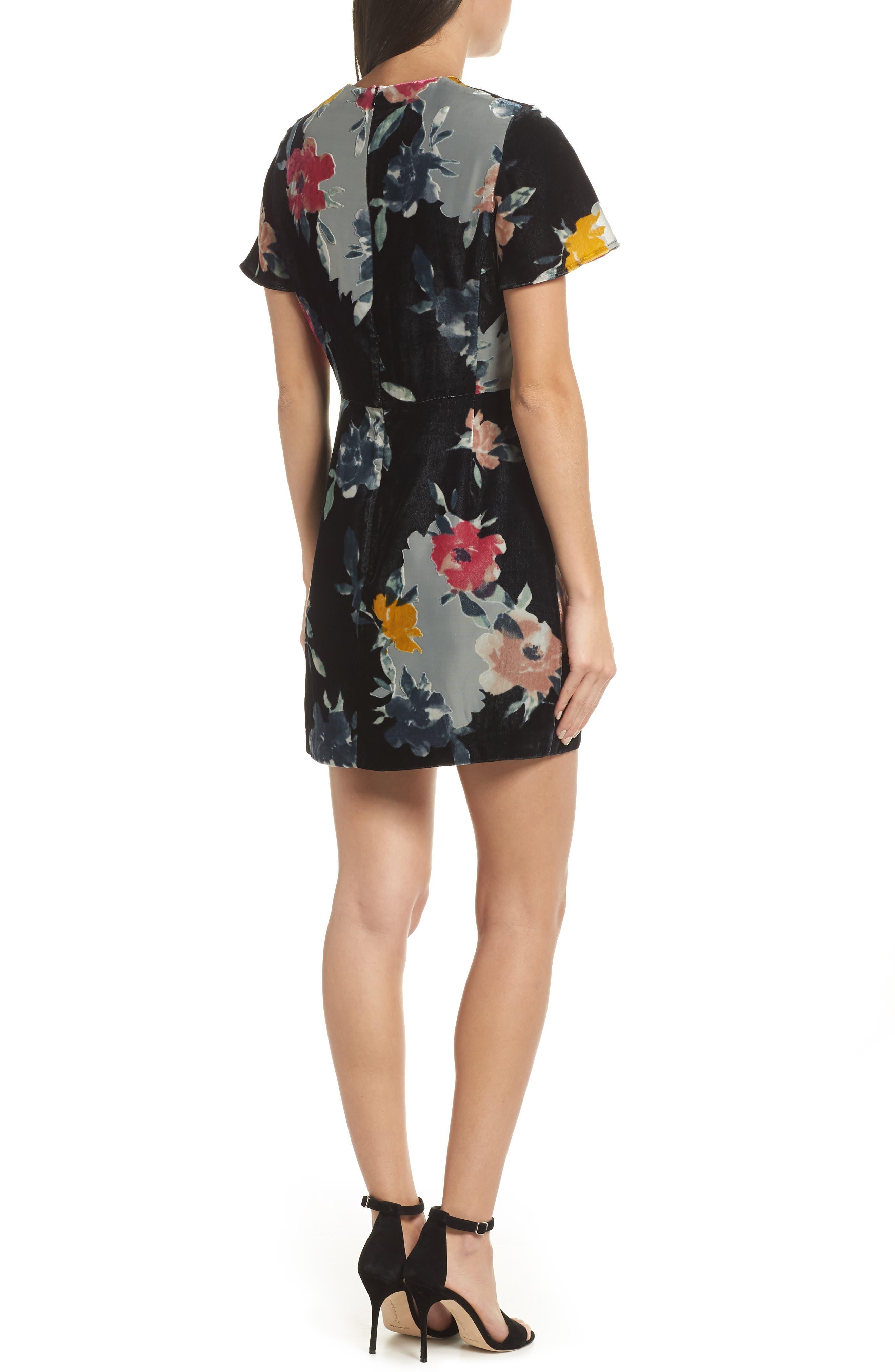 Wilma Devore Burnout Velvet Minidress,                             Alternate thumbnail 2, color,                             DARK SLATE MULTI