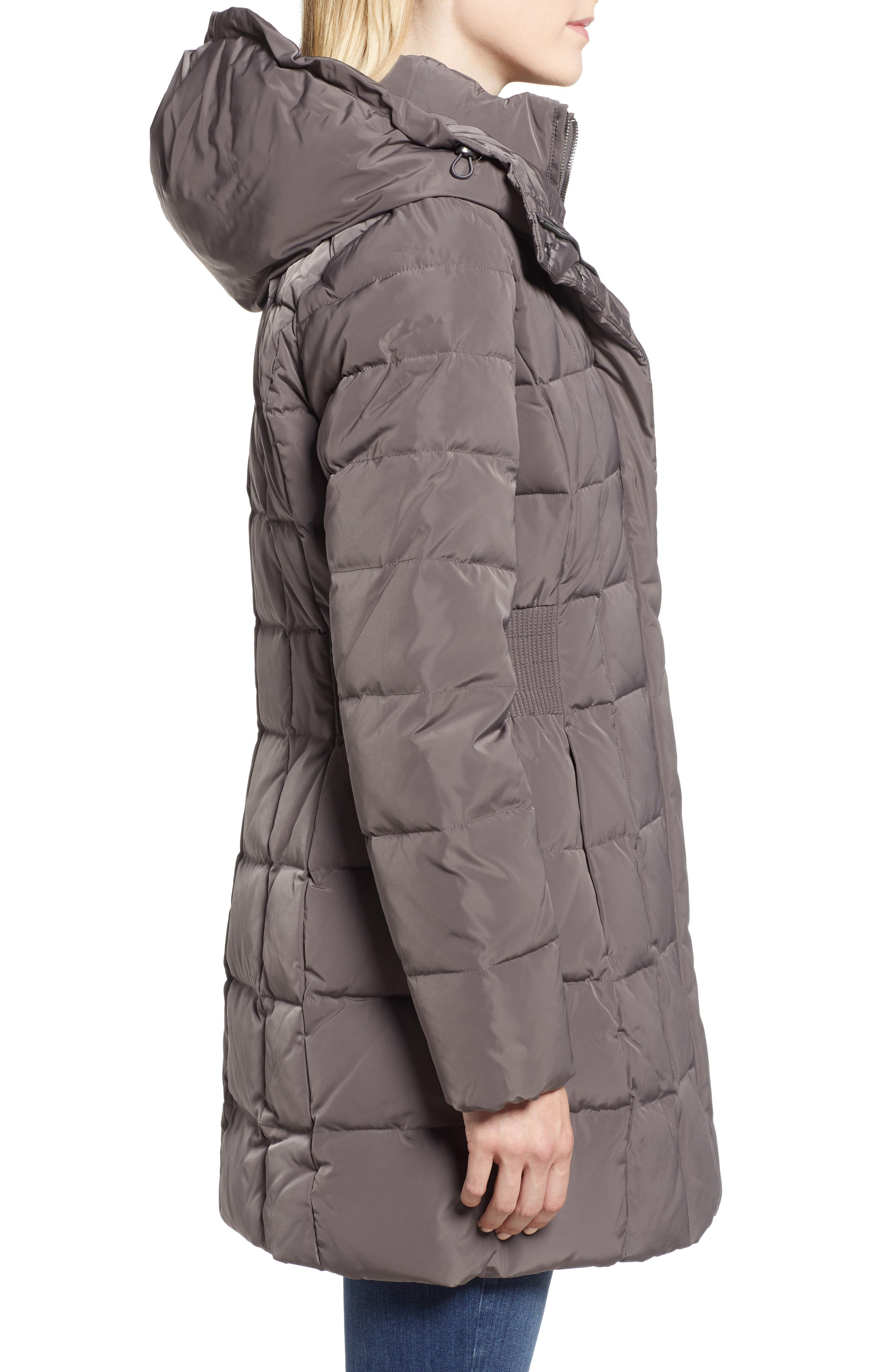 Cole Haan Hooded Down & Feather Jacket,                             Alternate thumbnail 3, color,                             CARBON