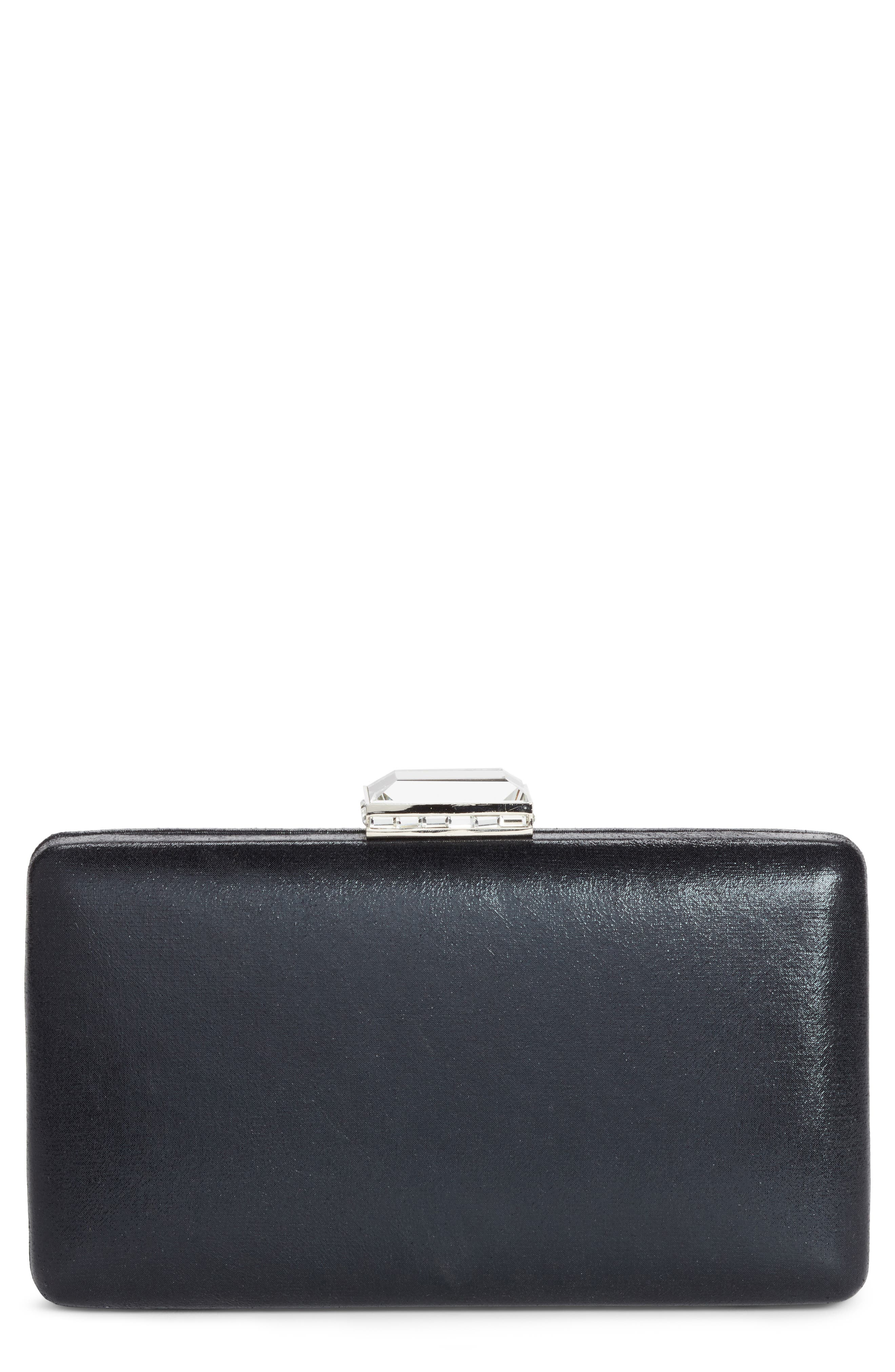Metallic Box Clutch,                         Main,                         color, BLACK
