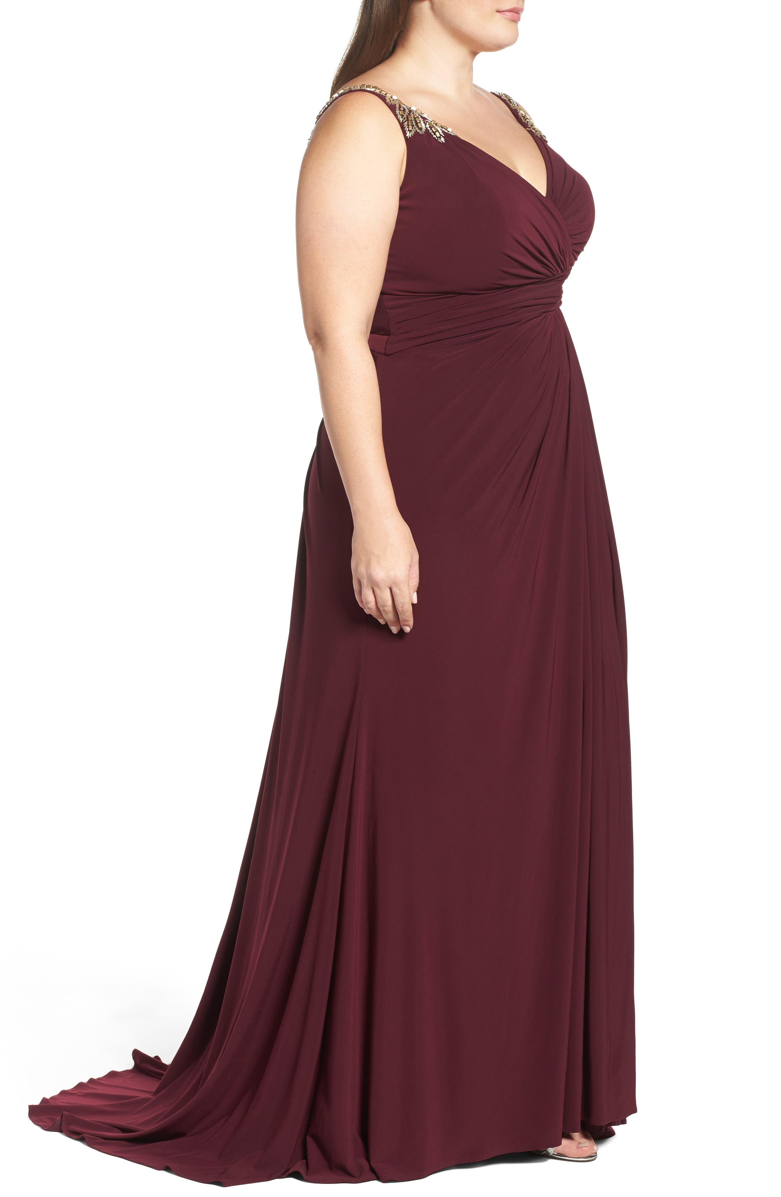 Embellished Shoulder Jersey Gown,                             Alternate thumbnail 3, color,                             BURGUNDY