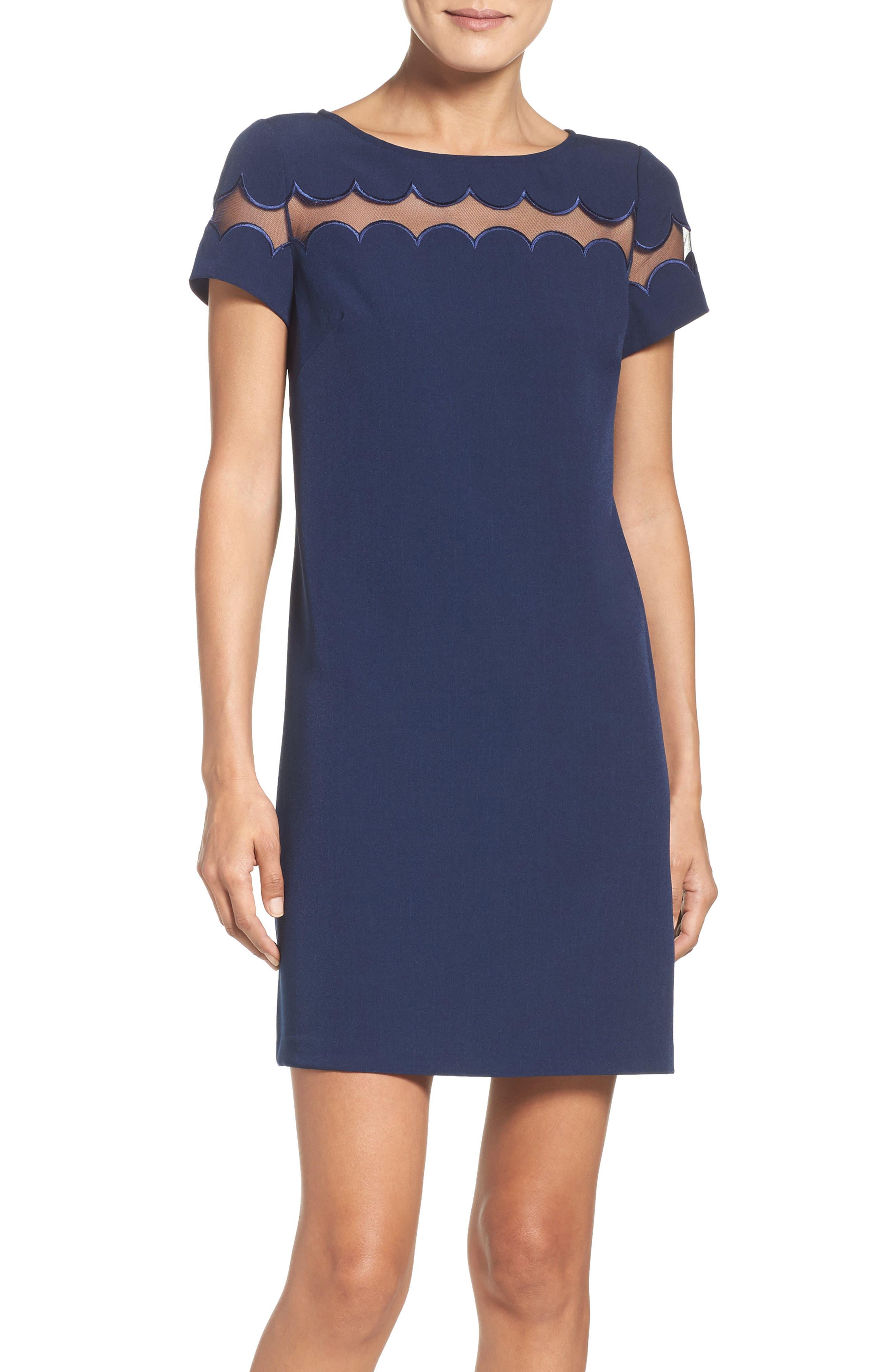 Scallop Inset Crepe Sheath Dress,                         Main,                         color, 412