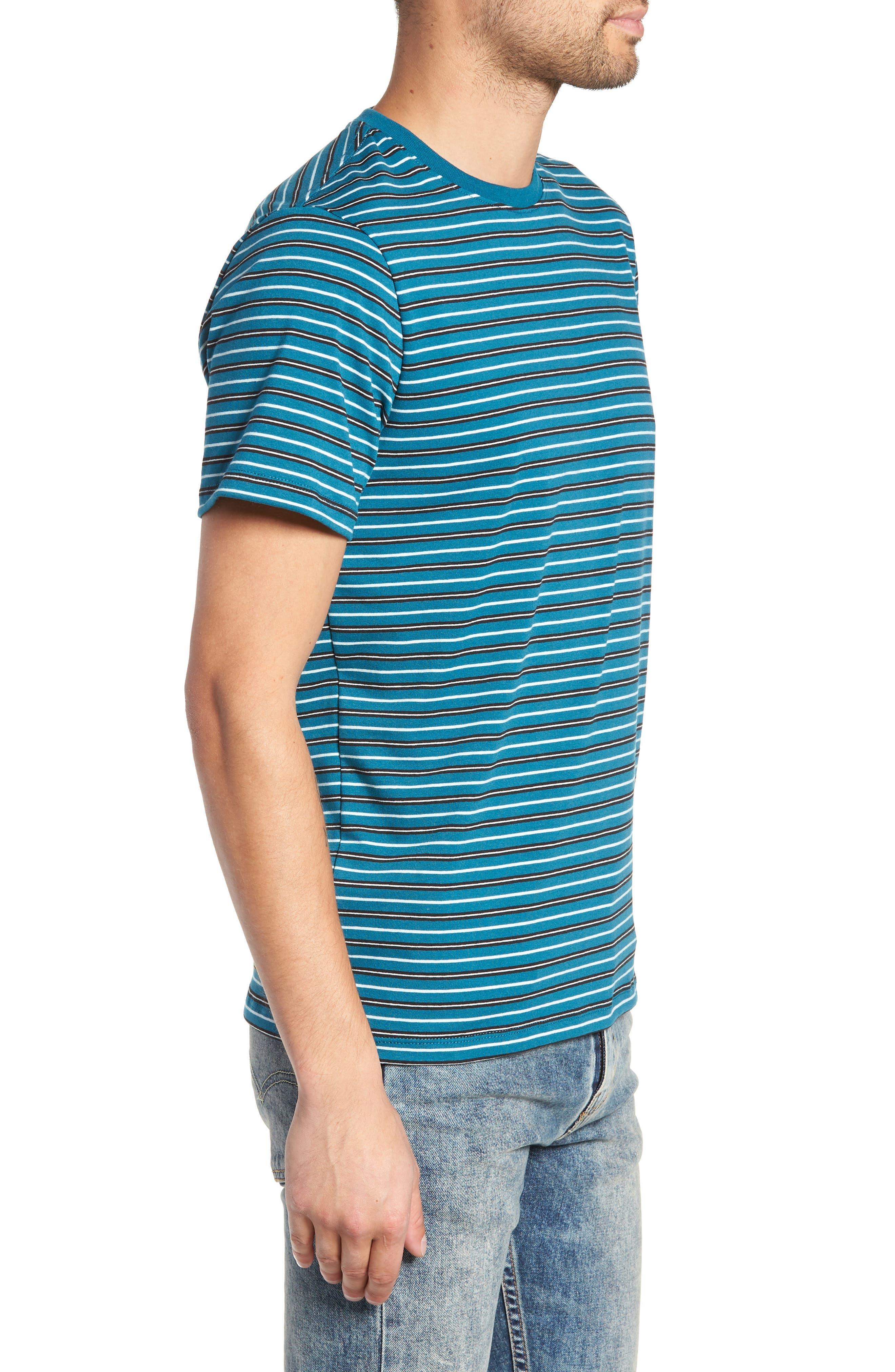 Striped T-Shirt,                             Alternate thumbnail 3, color,                             TEAL GREEN-WHITE STRIPE
