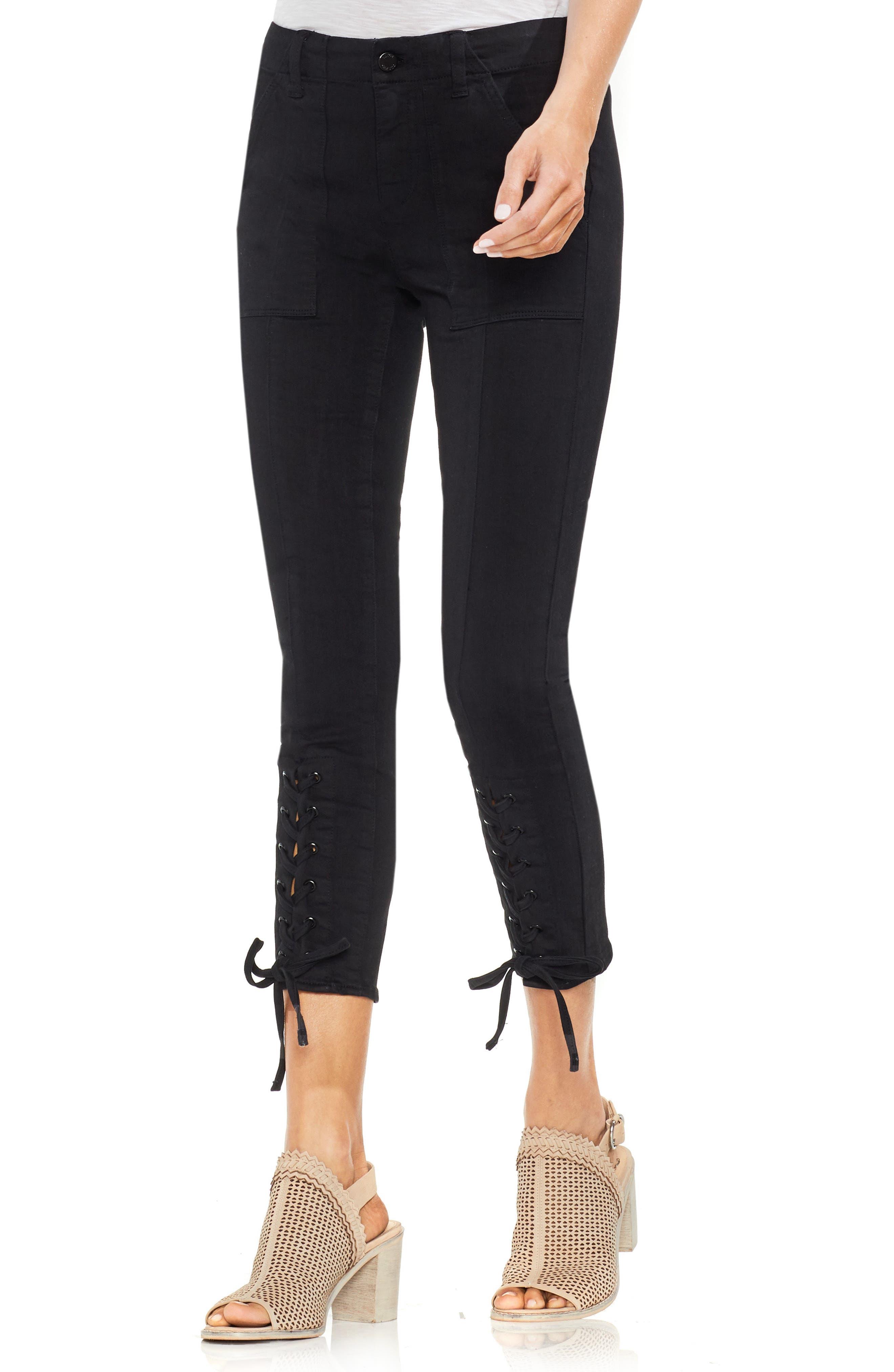 Lace-Up Cuff D-Luxe Pants,                             Main thumbnail 1, color,                             RICH BLACK