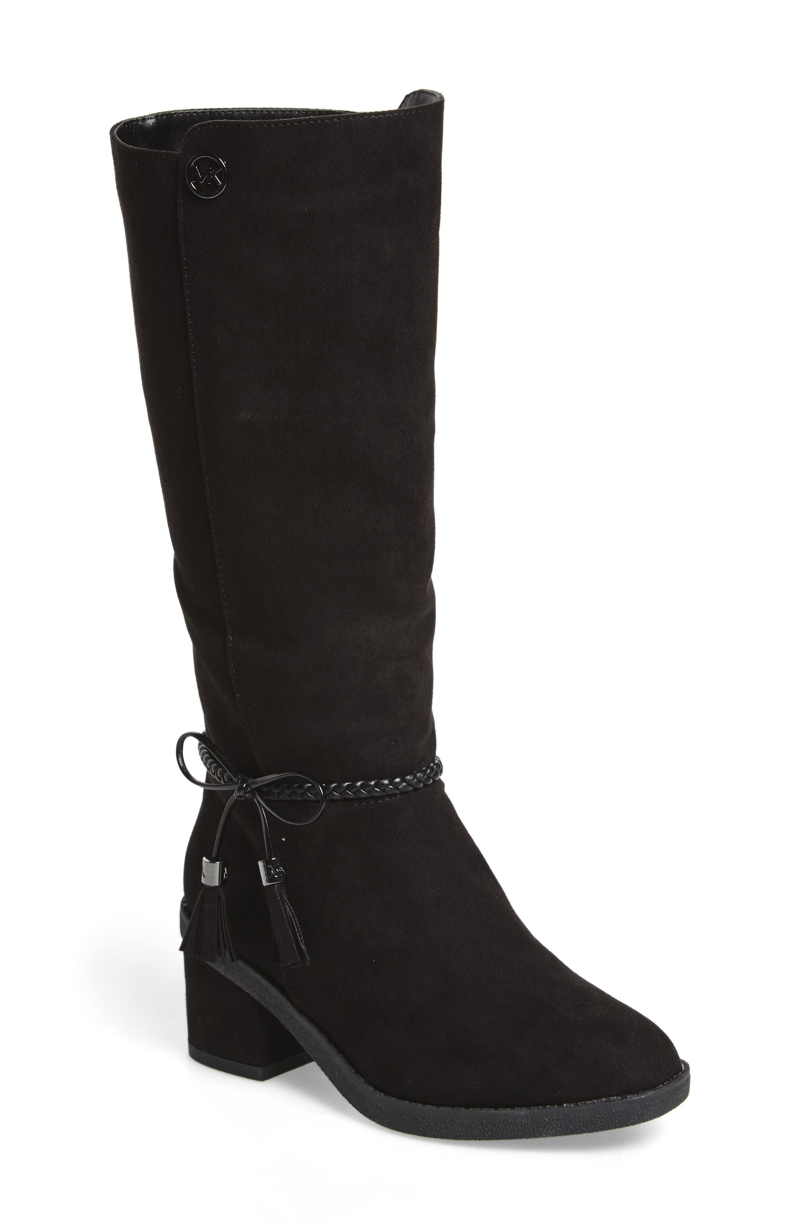 Fawn Simmy Riding Boot,                         Main,                         color, BLACK FAUX SUEDE