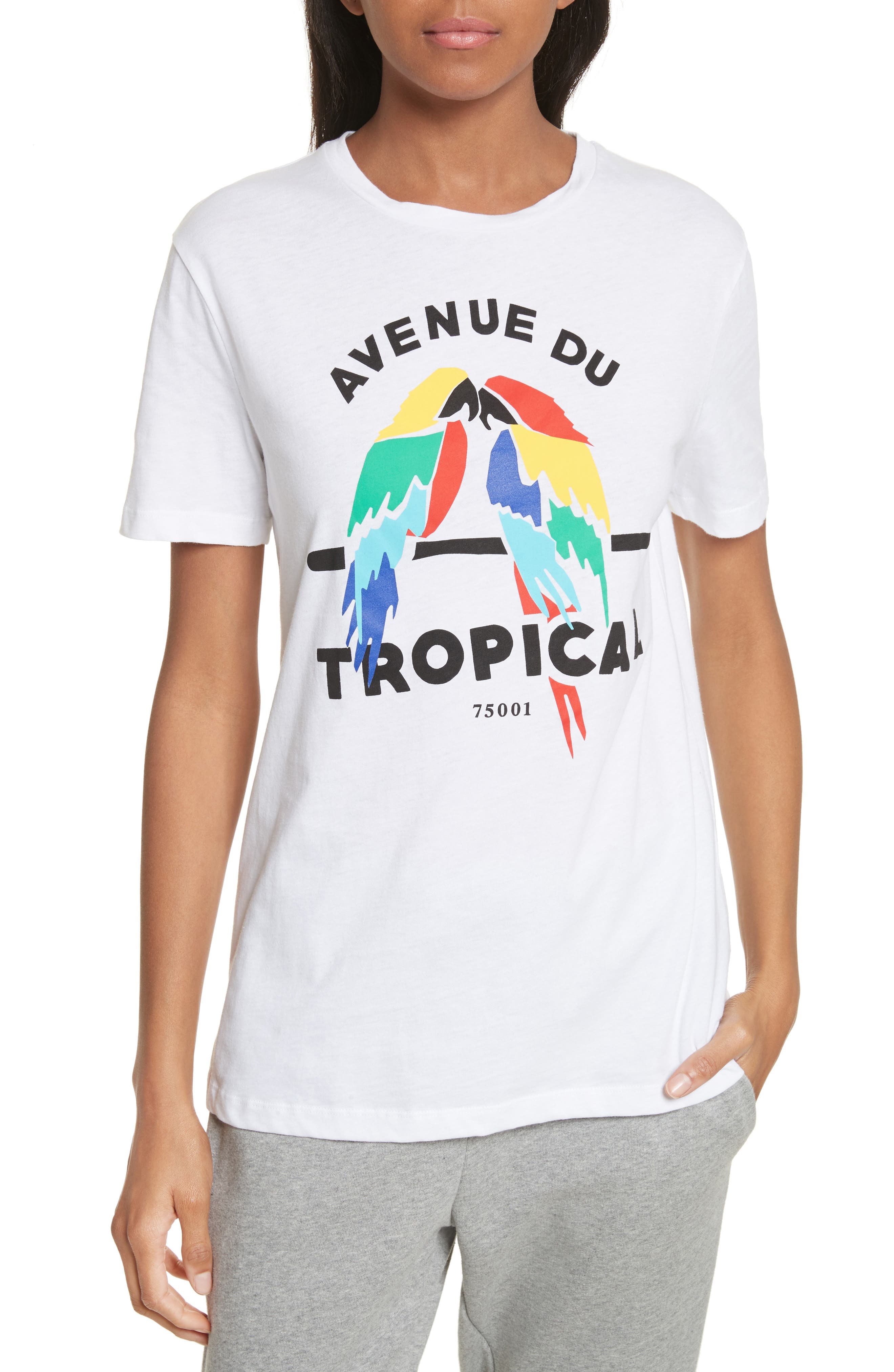 être cécile Tropical Print Tee,                         Main,                         color, 100