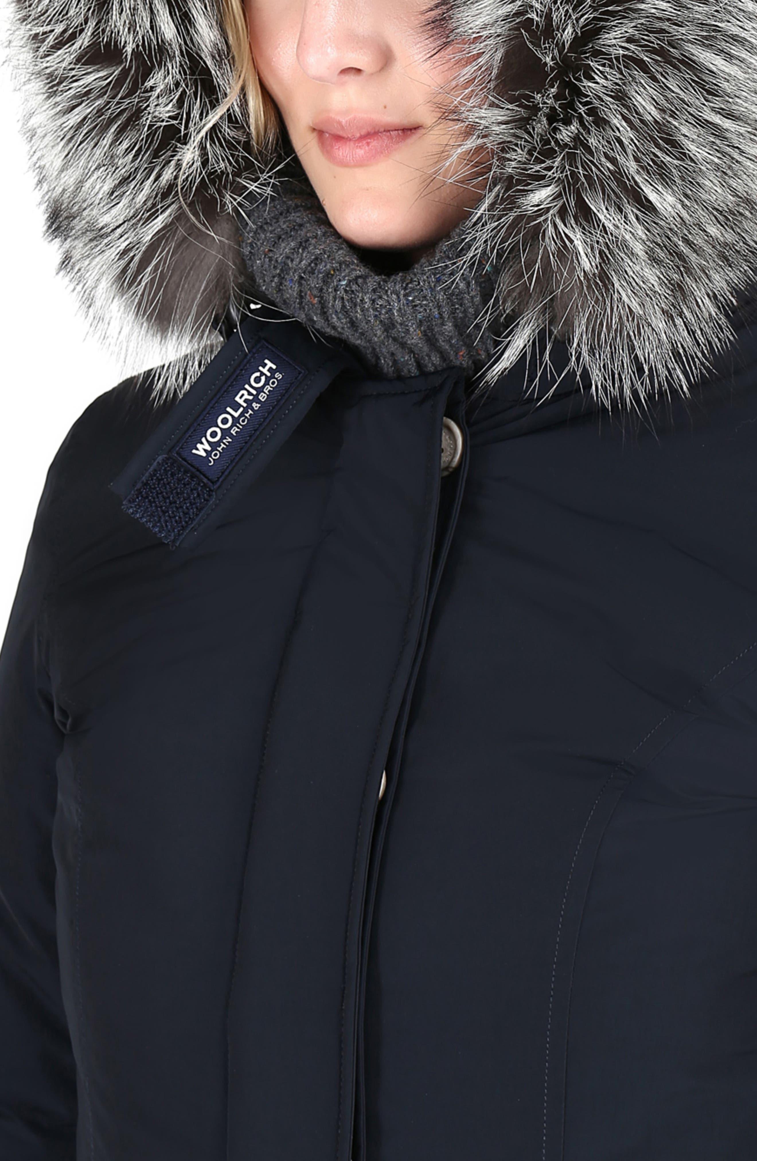Luxury Arctic Down Parka with Genuine Fox Fur Trim,                             Alternate thumbnail 4, color,                             MIDNIGHT BLUE