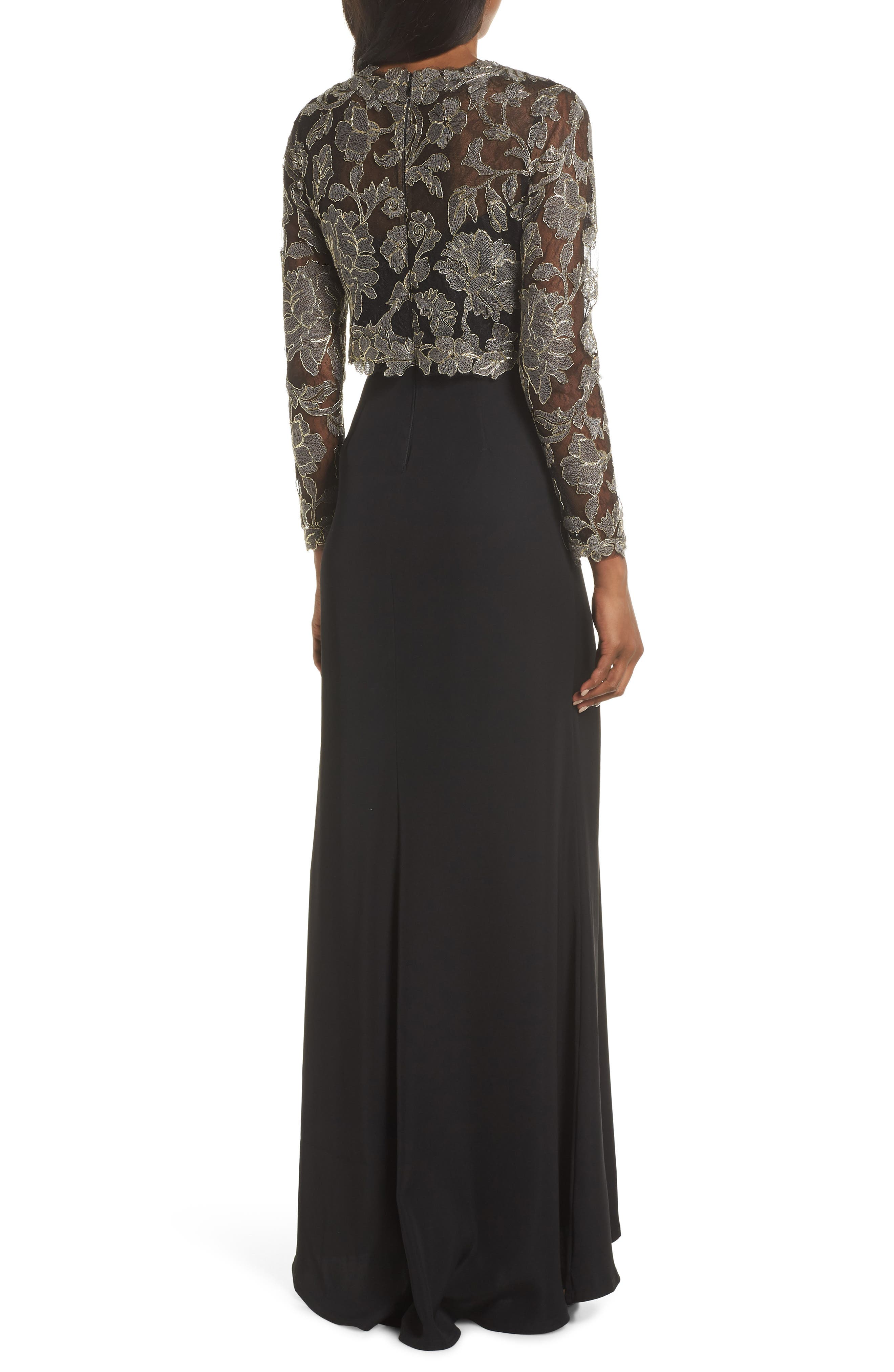 TADASHI SHOJI,                             Crepe & Embroidered Lace Gown,                             Alternate thumbnail 2, color,                             SMOKE PEARL/ BLACK